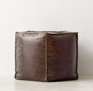 Leather Pentagon Pouf $299