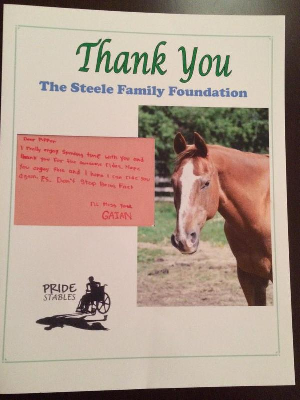 Thank you note from one of the children at Pride Stables