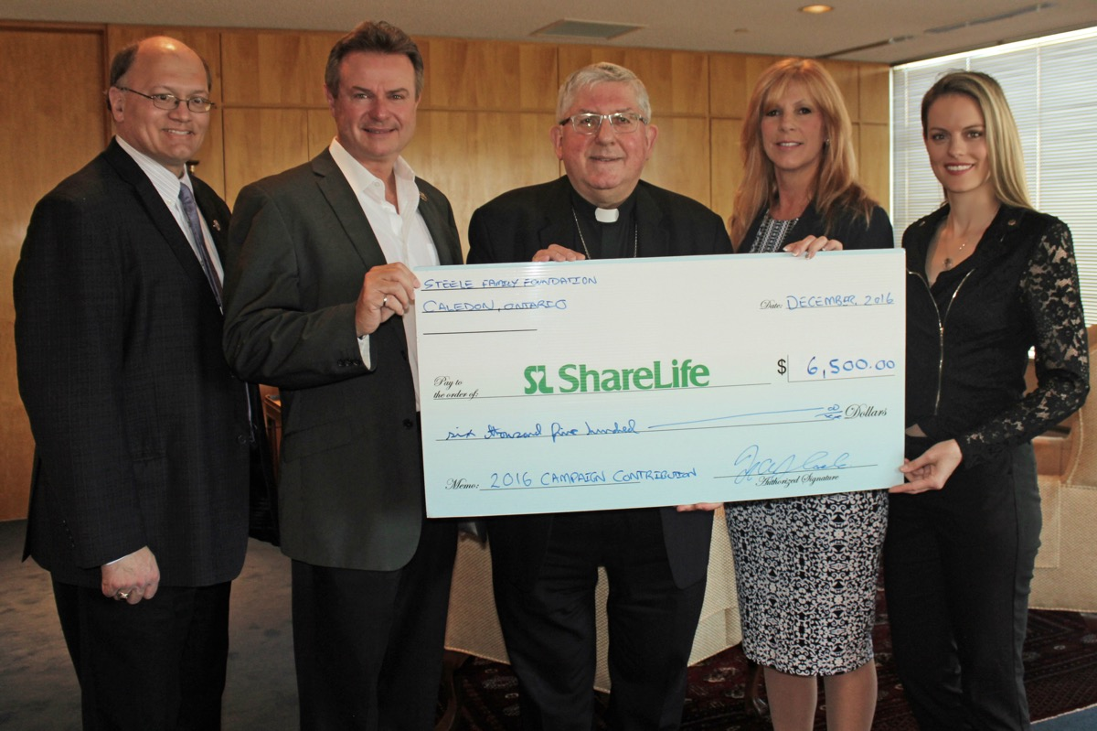 From left to right: Arthur Peters, Michael Steele, Cardinal Collins, Stacey Coote, Jennifer Steele