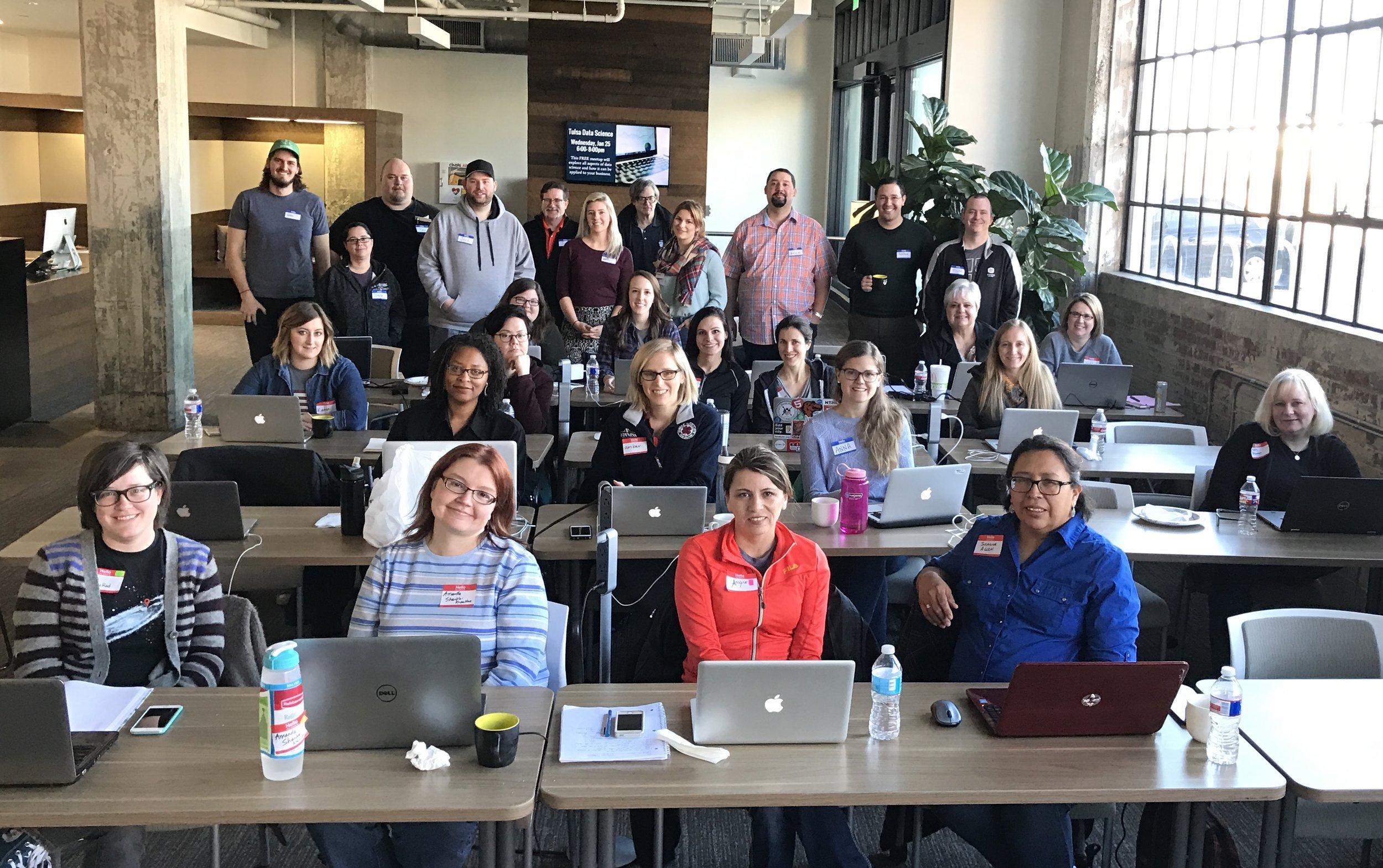 RailsBridge Tulsa students and volunteers. Jan 2017.