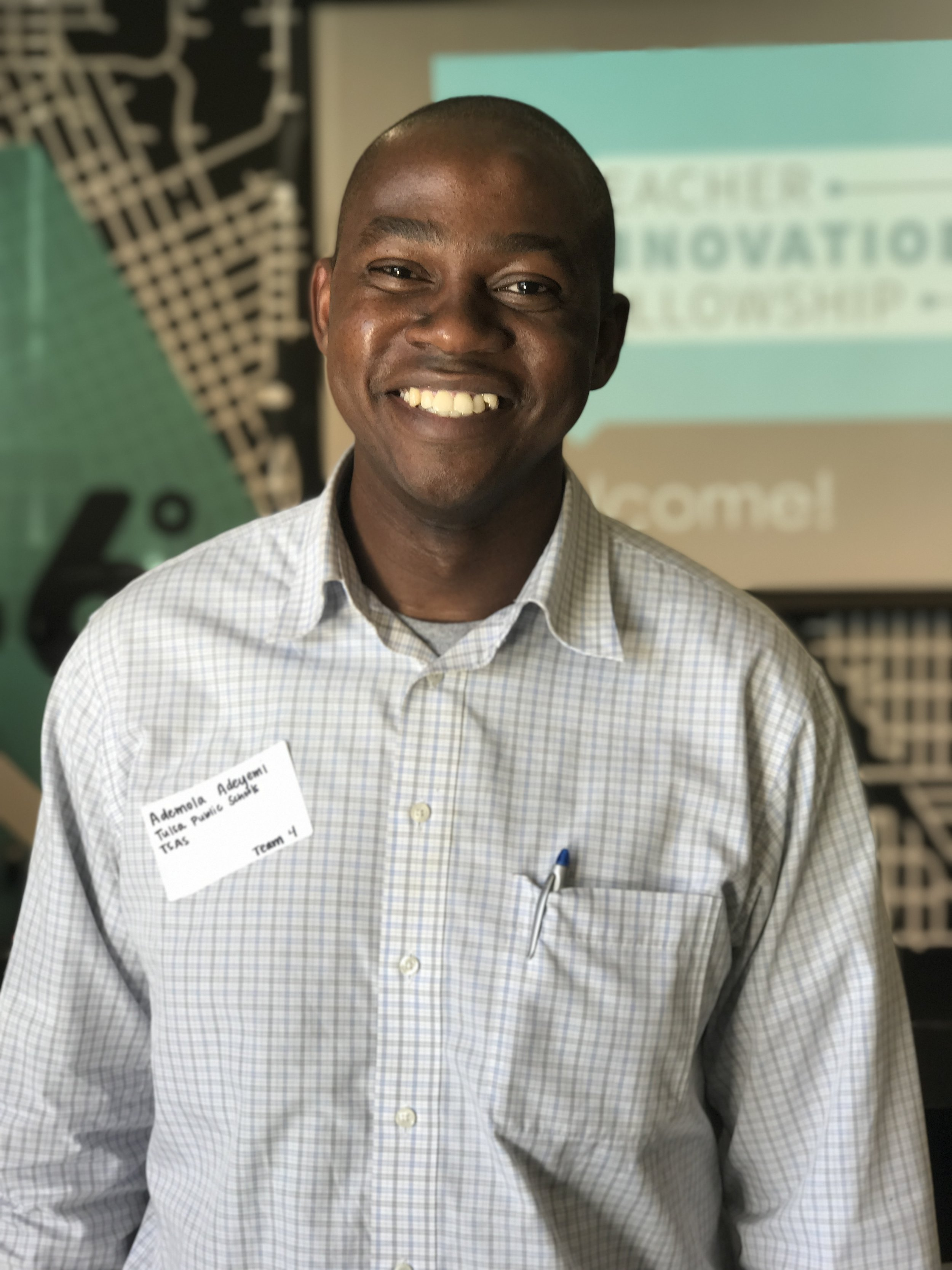 "Ademola Adeyemi,   Tulsa School of Arts and Sciences   ""I hope to learn hands-on strategies and plans that I am able to implement immediately in my classroom and share with the rest of my colleagues... especially in the area of Mathematics the subject area that I teach."""