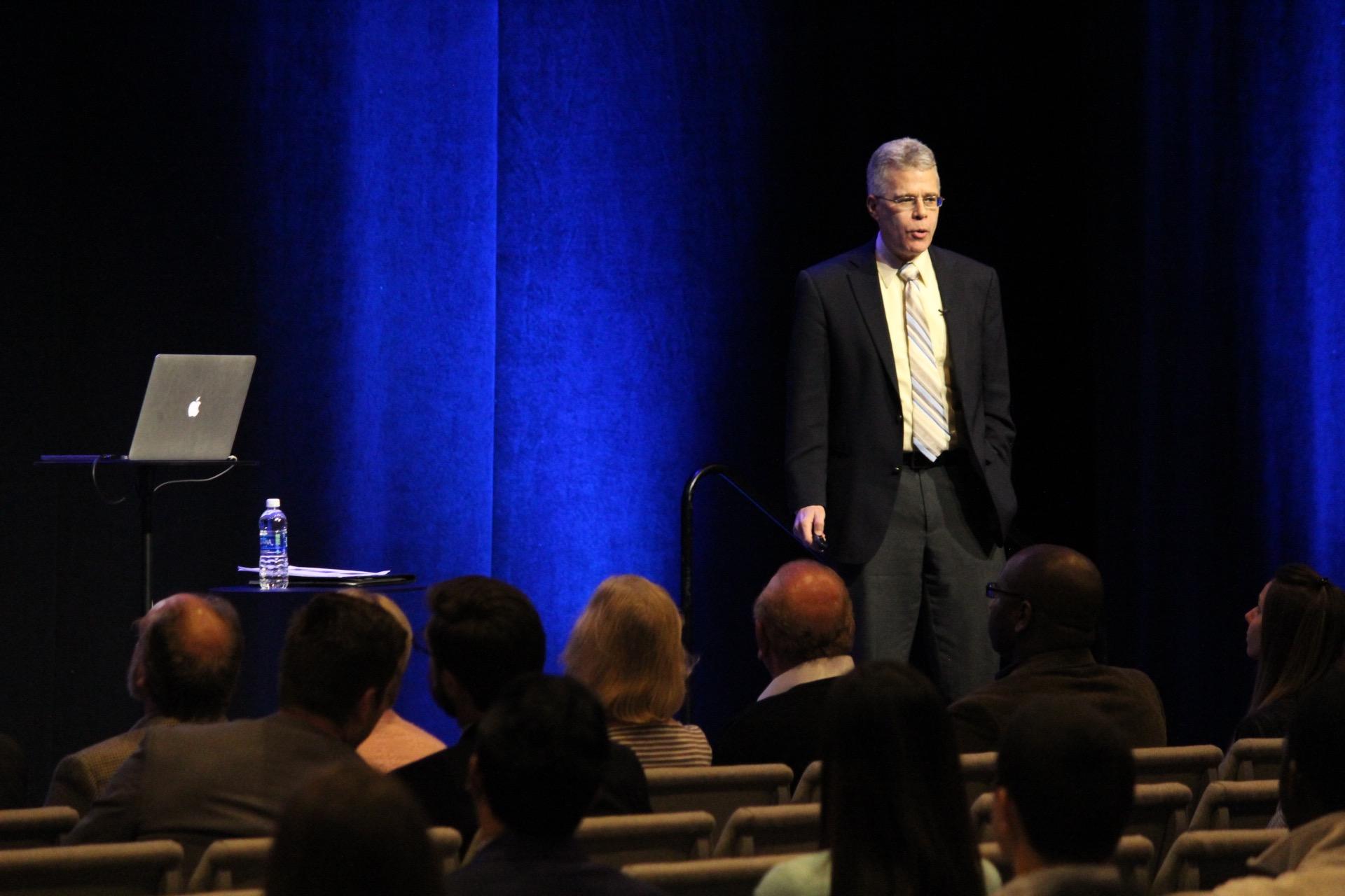 Ted London speaks in Tulsa on January 31.