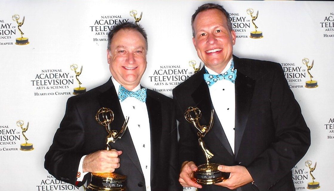 Russ Kirkpatrick (right) with partner Andy Kinslow (left) at the Emmy Awards.