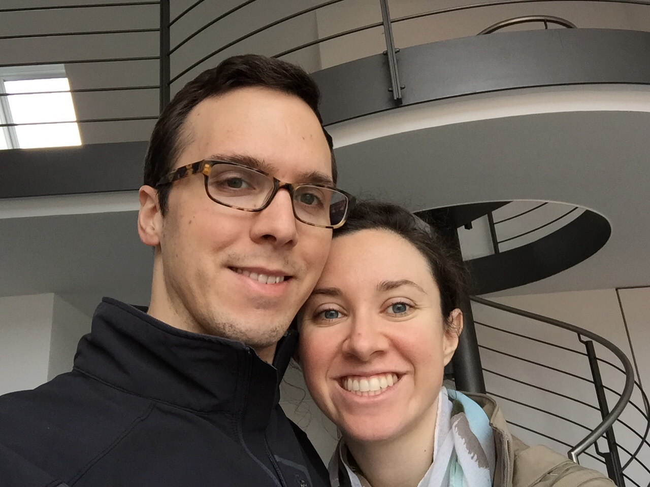 Our first apartment selfie... complete with puffy eyes courtesy of jet lag.