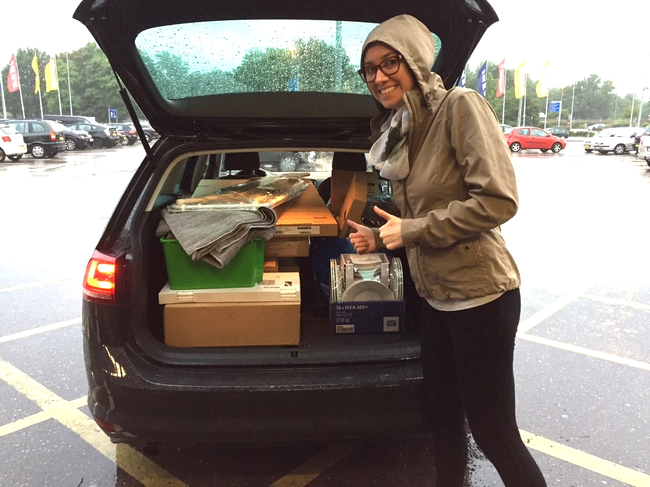The first (and longest at a whopping4 hours) of the three trips to IKEA. Who knew you could fit so much in the back of a station wagon?