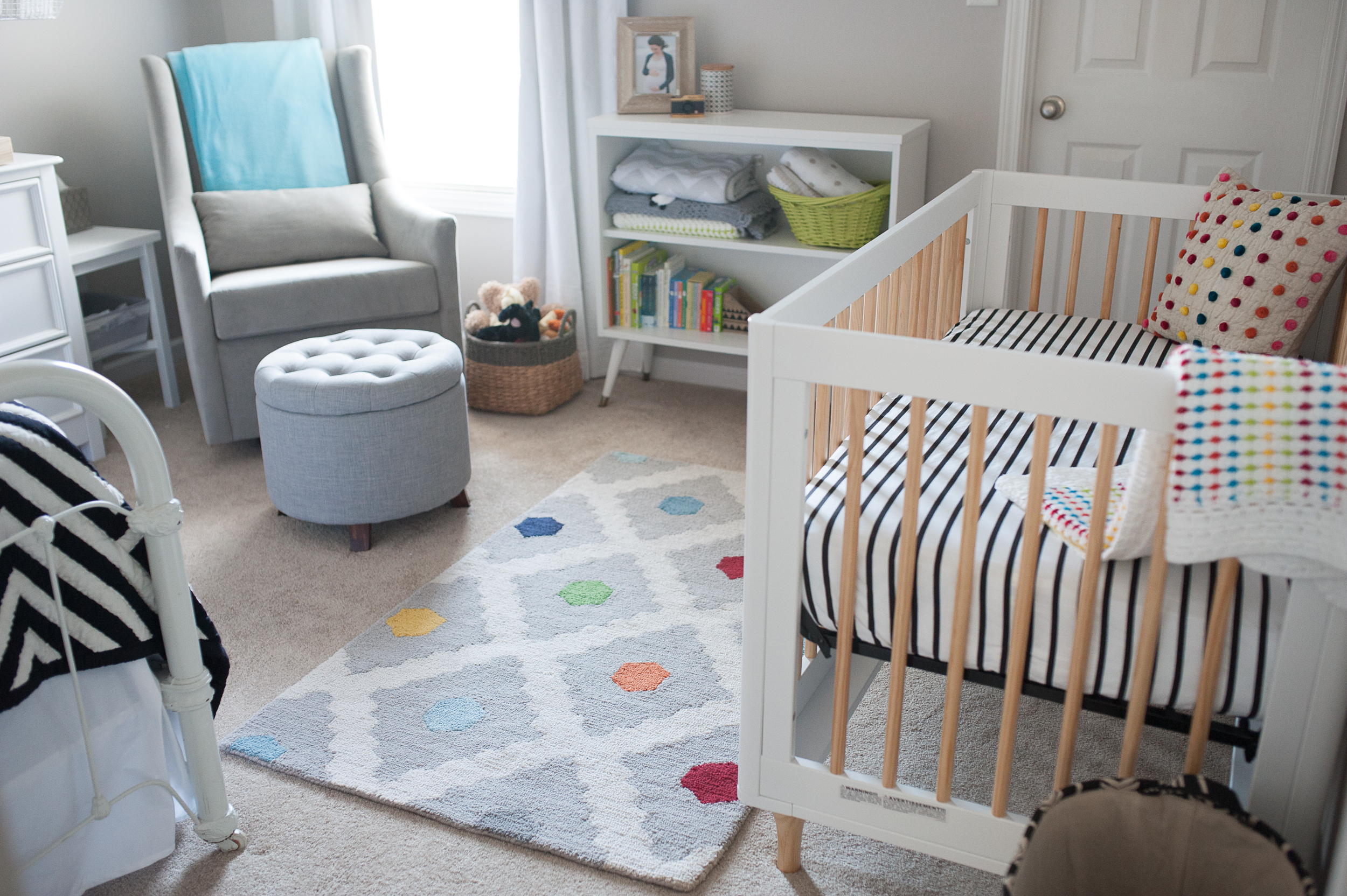 1.  Graham glider from West Elm , 2.  ottoman from Target , 3.  rug from PB Kids , 4.  Lolly crib by Babyletto