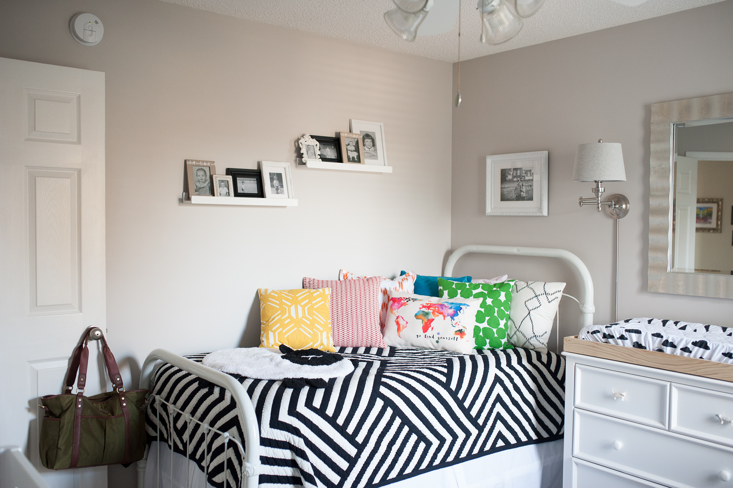 18.  black and white quilt from Land of Nod , 19. throw pillows from Target, Kate Spade for Bed, Bath & Beyond, Pier 1, and  Southern Antiques  in Laurel, MS
