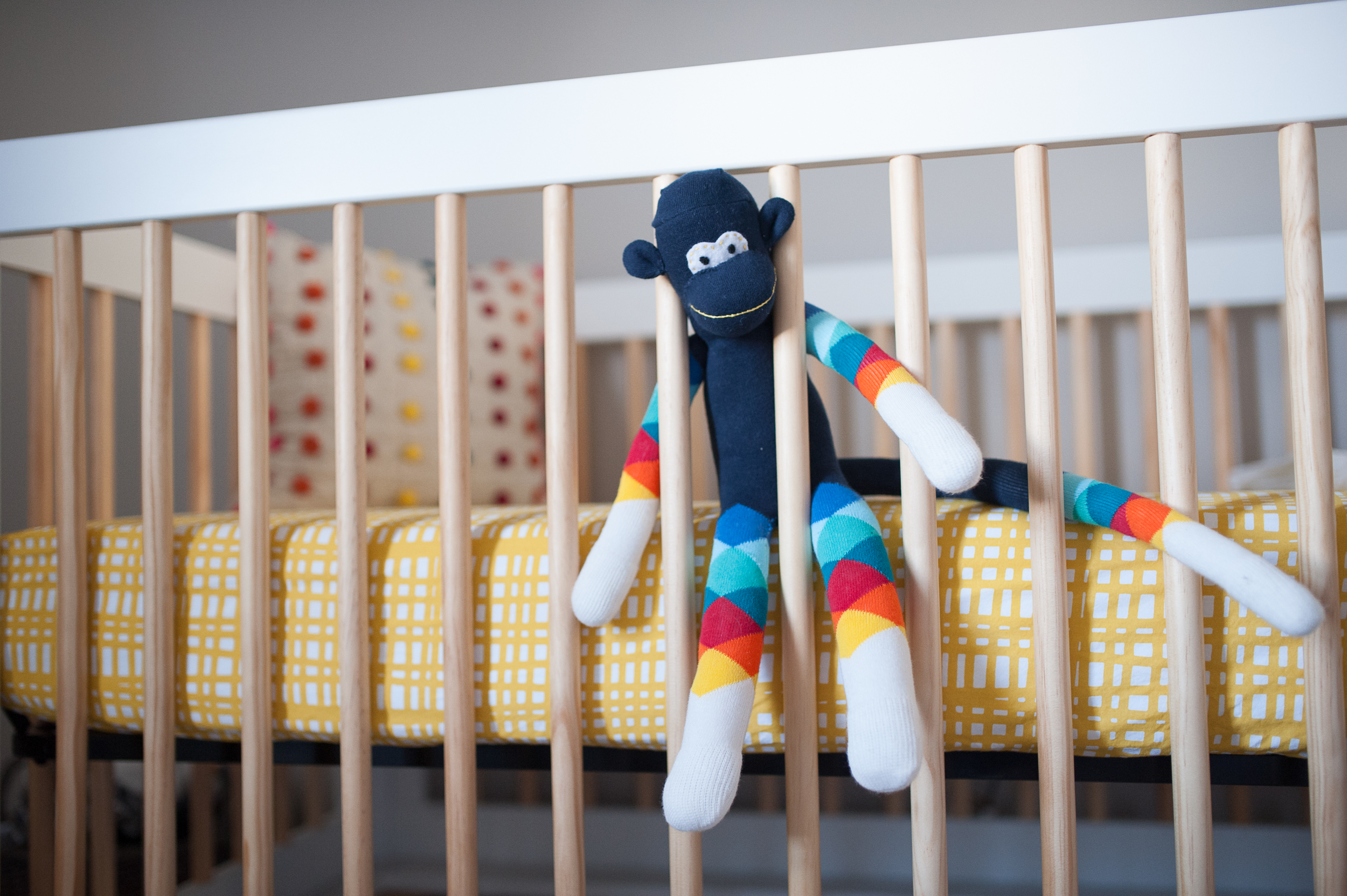 9.  handmade sock monkey by FlunkyMonkeys , 10.  yellow sheet from Land of Nod