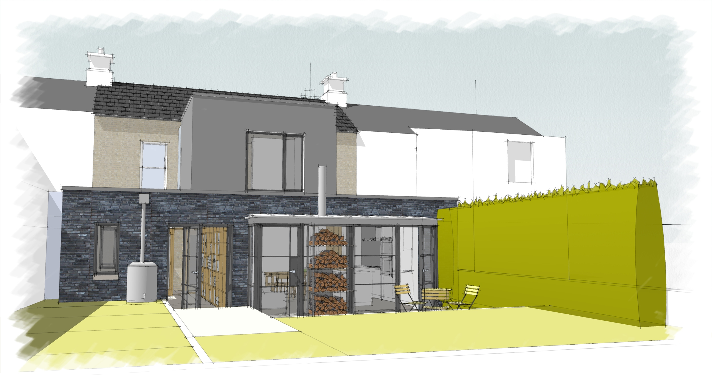Planning stage sketch of rear contemporary extension.