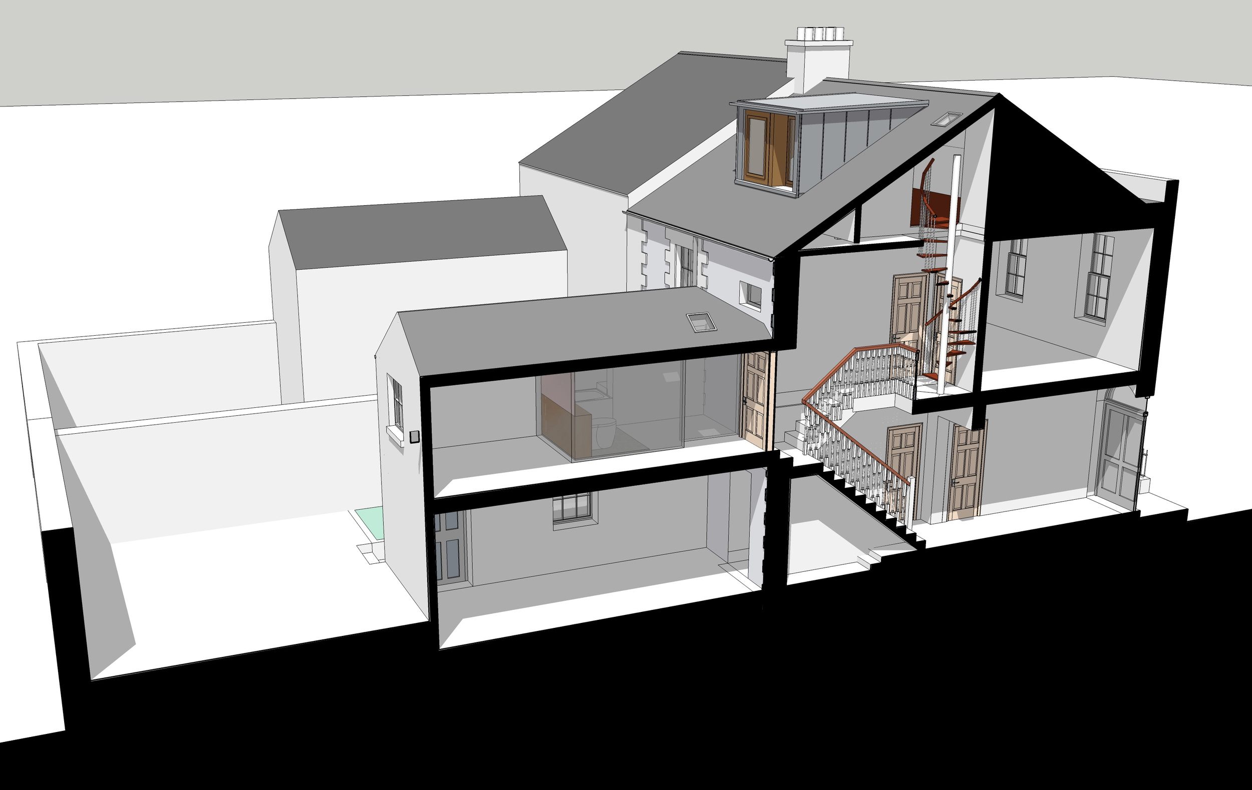 Section Drawing Through the House