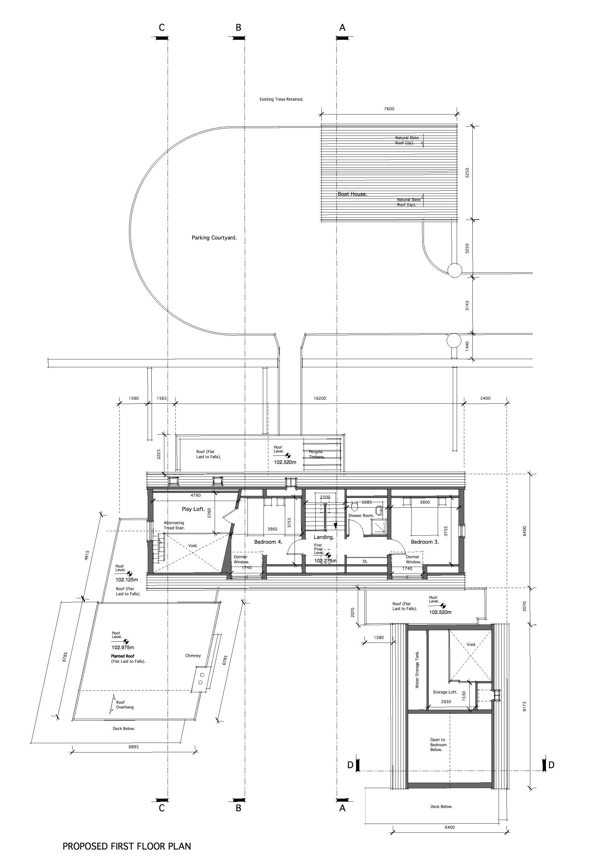 First Floor Plan - Planted Roof Over the Living Room.