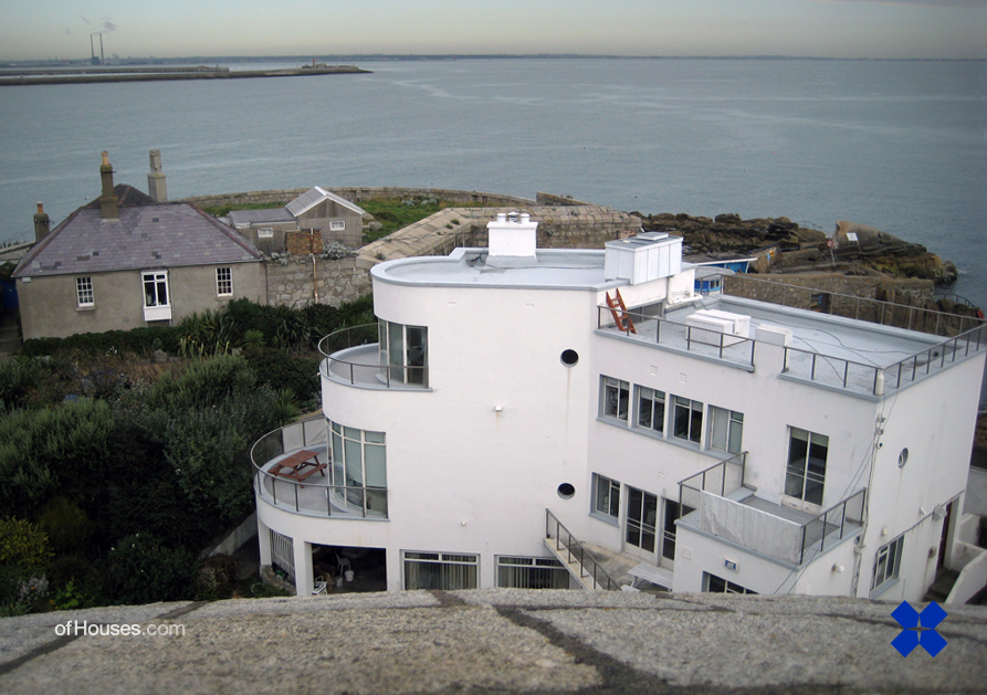 """""""Geragh"""" Sandycove by Michael Scott. Photographed from the adjoining Martello Tower by Mile Lynch."""