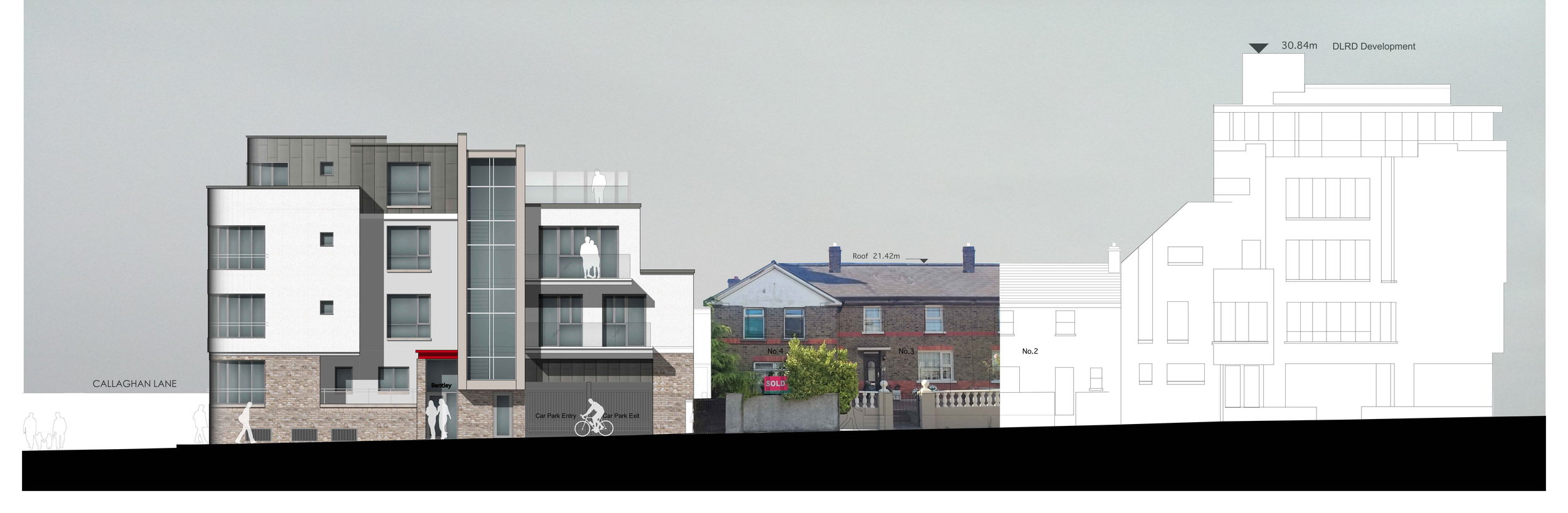 Proposed Elevation to Bentley Villas/Georges Place, Dun Laoghaire.