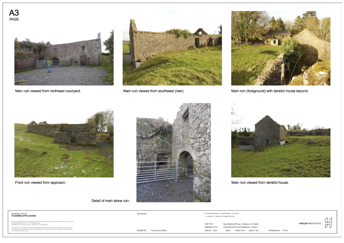 Photographs of the site and ruins showing changes in level.