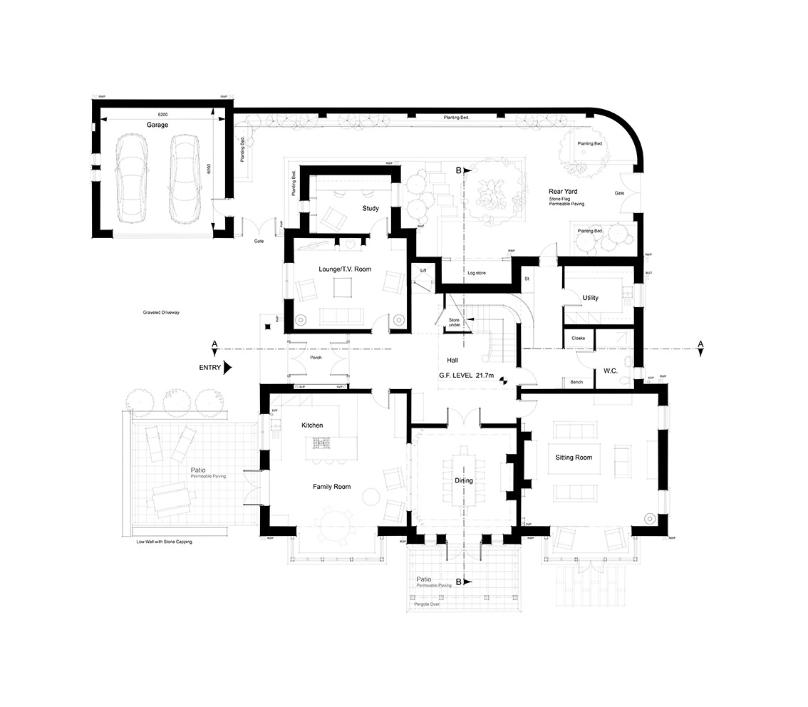 Ground Floor Layout - Main receptions face south along a east-west axis.