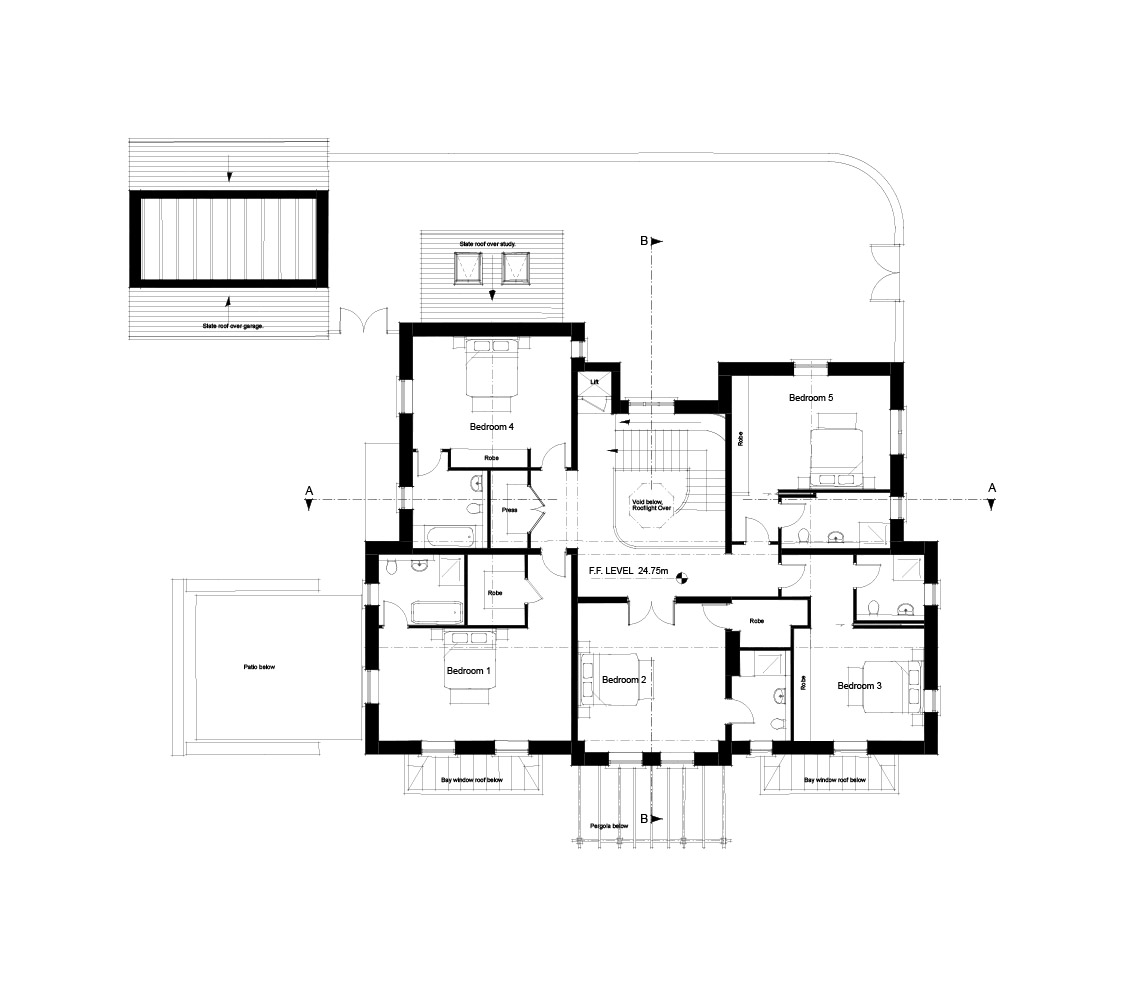 First Floor Layout - Five en suite bedrooms around central hall and stair.