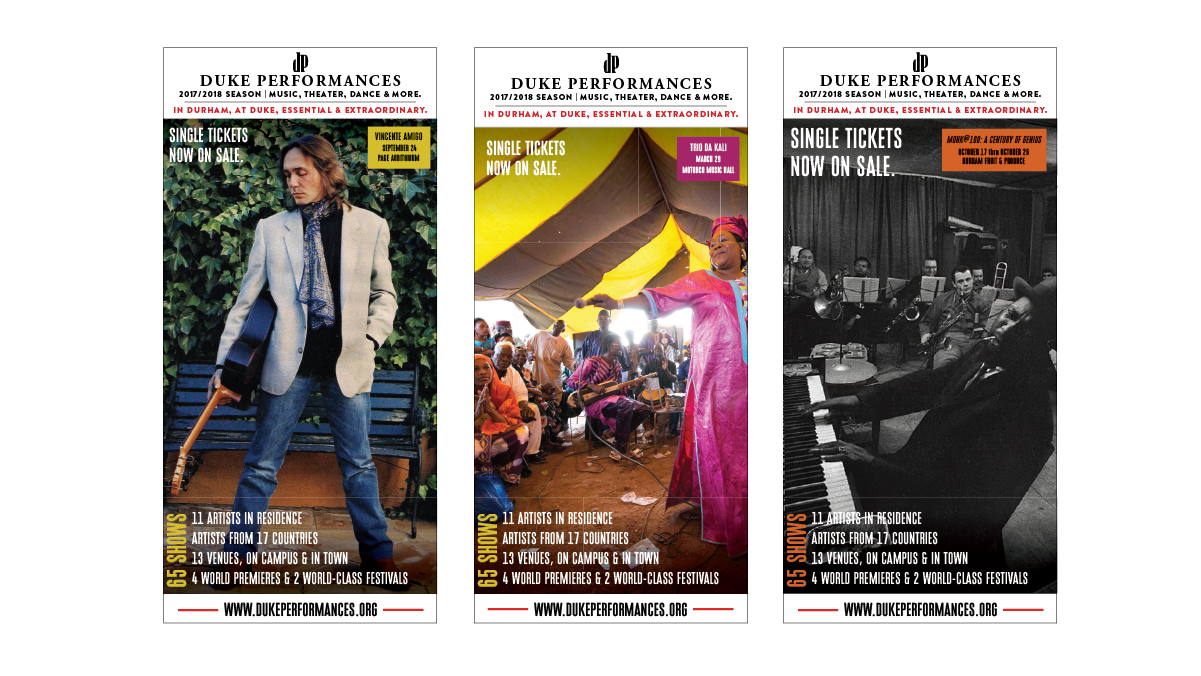 Selected ads for the  Independent Weekly  for Duke Performances