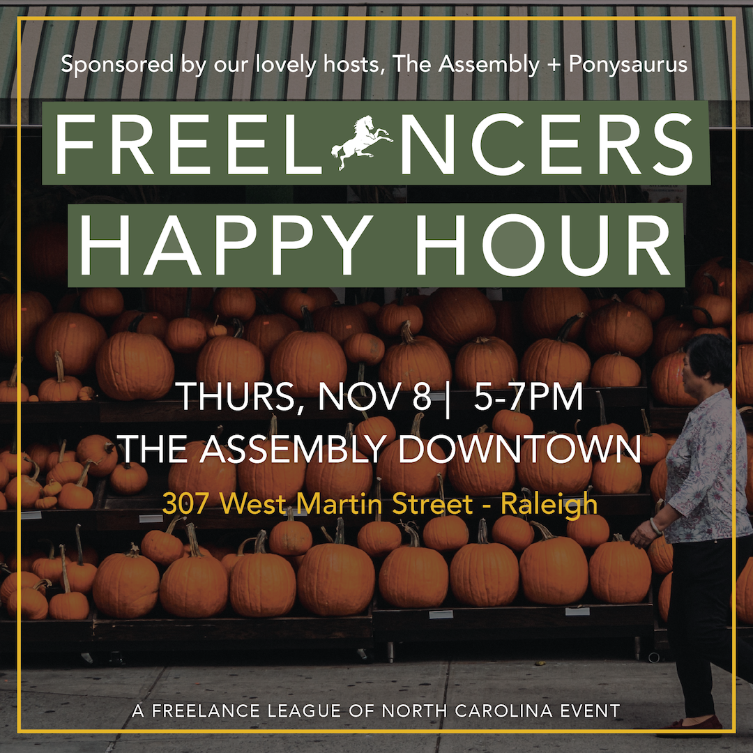Promo graphic for Freelance League of NC's November Happy Hour