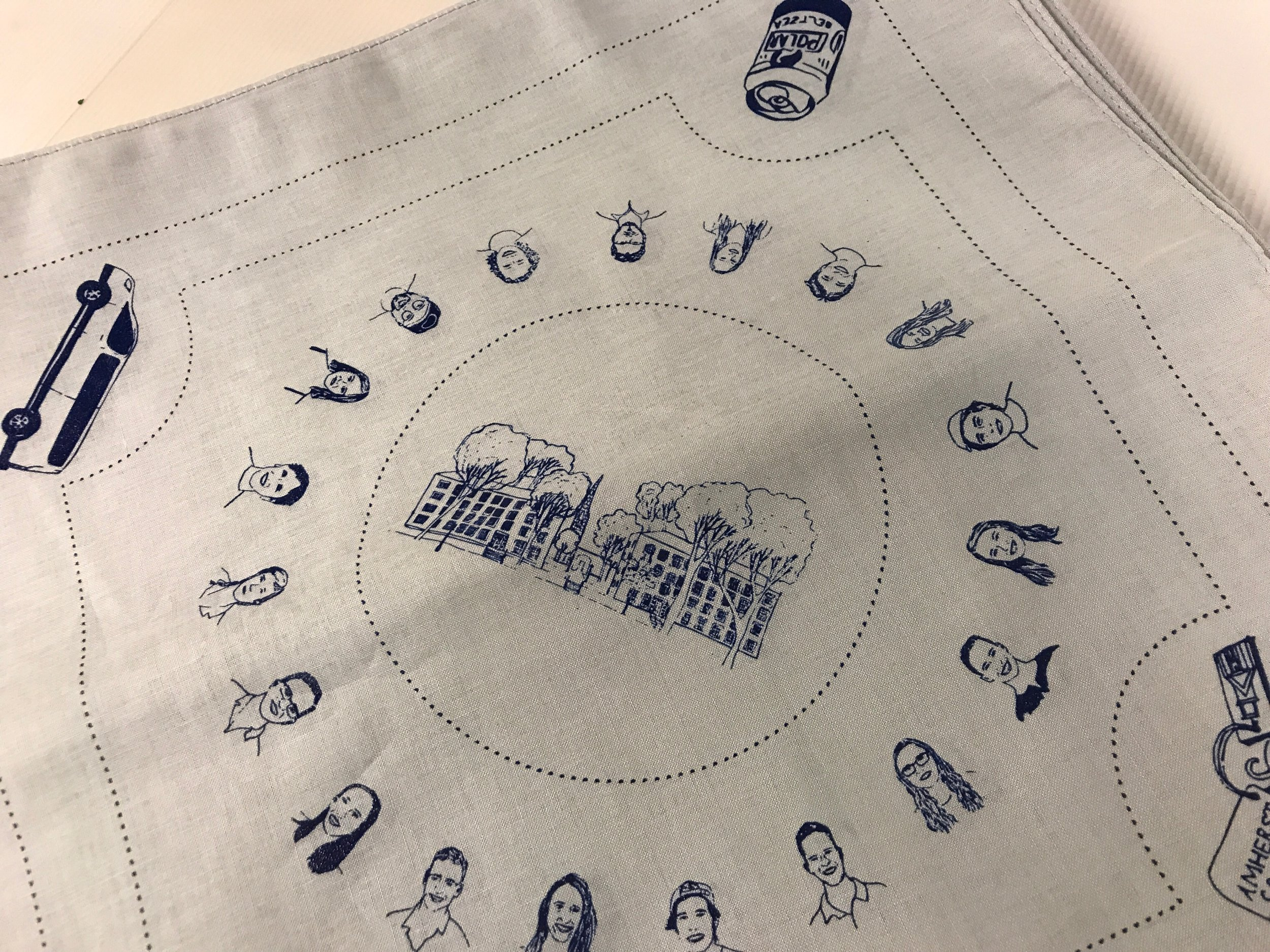 Screen-printed hanky for summer staff at Putney Student Travel.