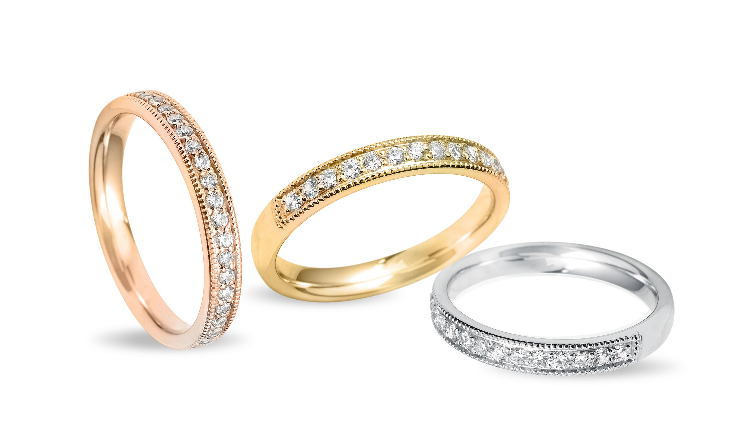 18ct rose, yellow and white gold vintage diamond wedding rings