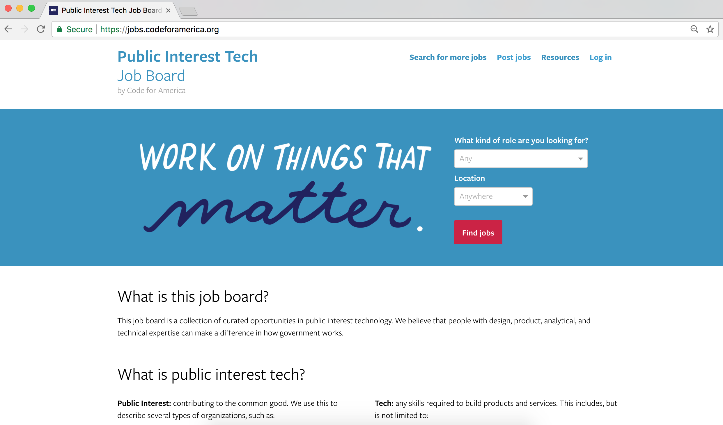 Public interest tech job board:  jobs.codeforamerica.org