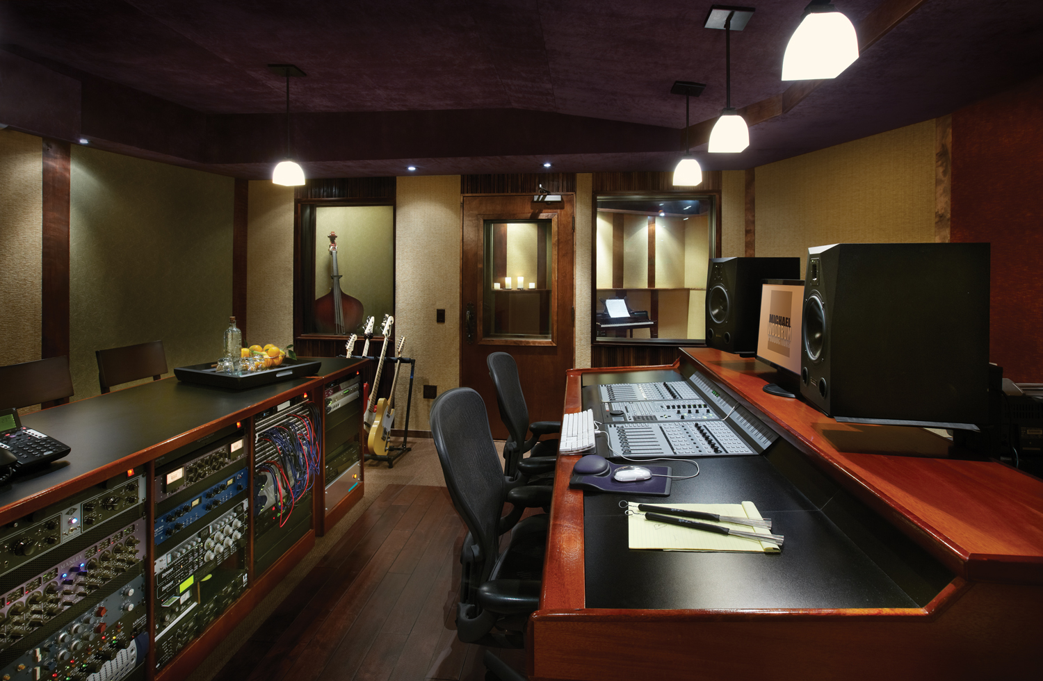 Control Room with view of Live Room and 1 of the 2 Vocal Booths