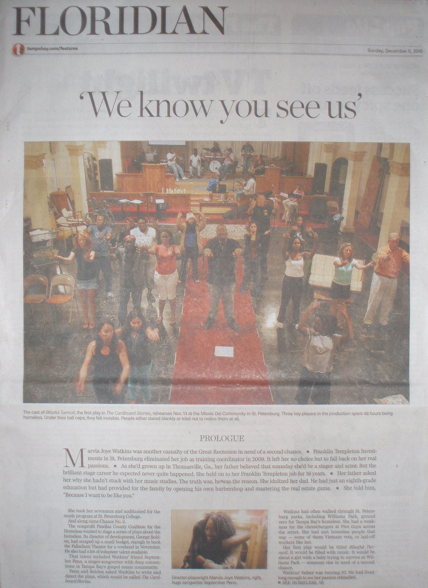 A Tampa Bay Feature - The Tampa Bay Times, Florida's largest newspaper, featured the making of The Cardboard Stories in a lengthy story that followed the play from creation to the stage.