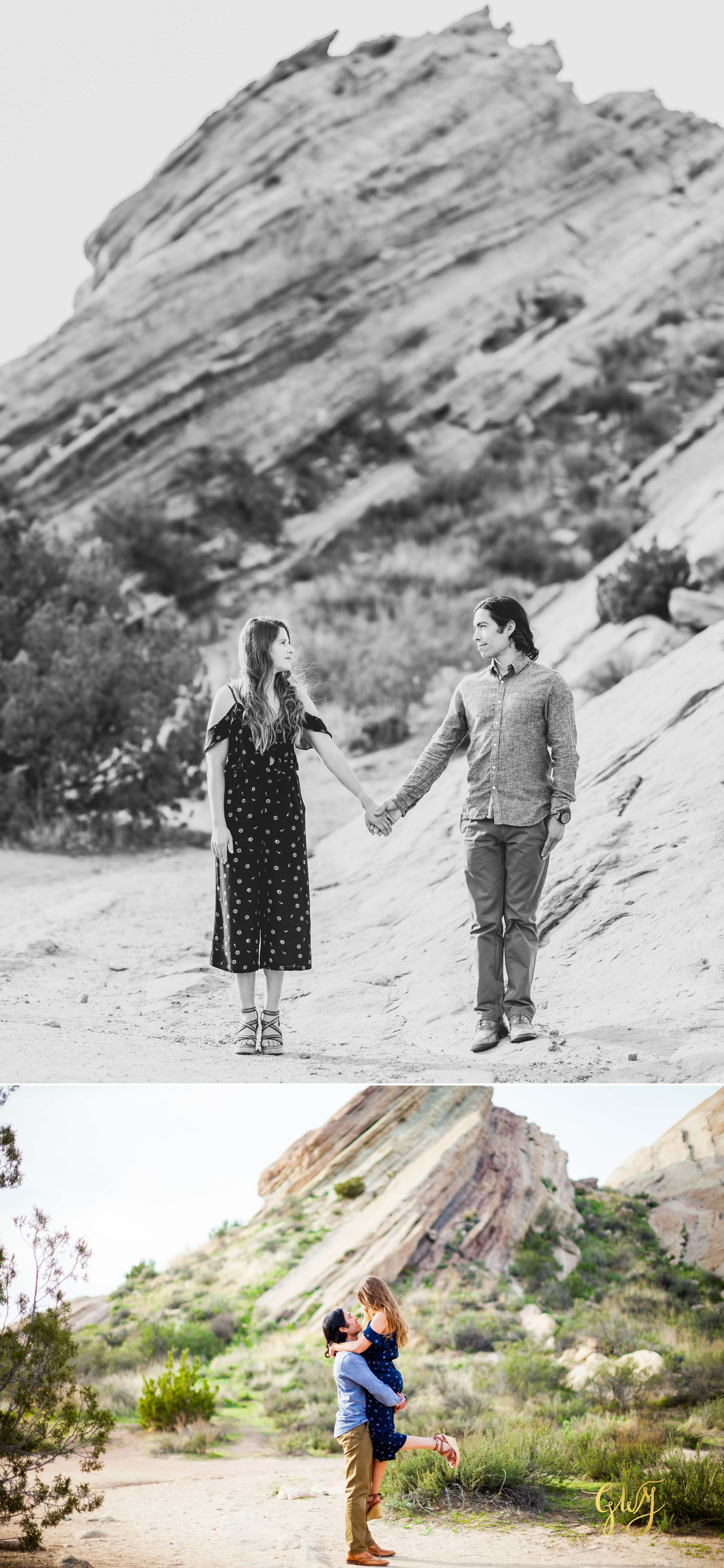 Jose + Sarah Vasquez Rocks Hike at Sunset Adventurous Engagement by Glass Woods Media 8.jpg
