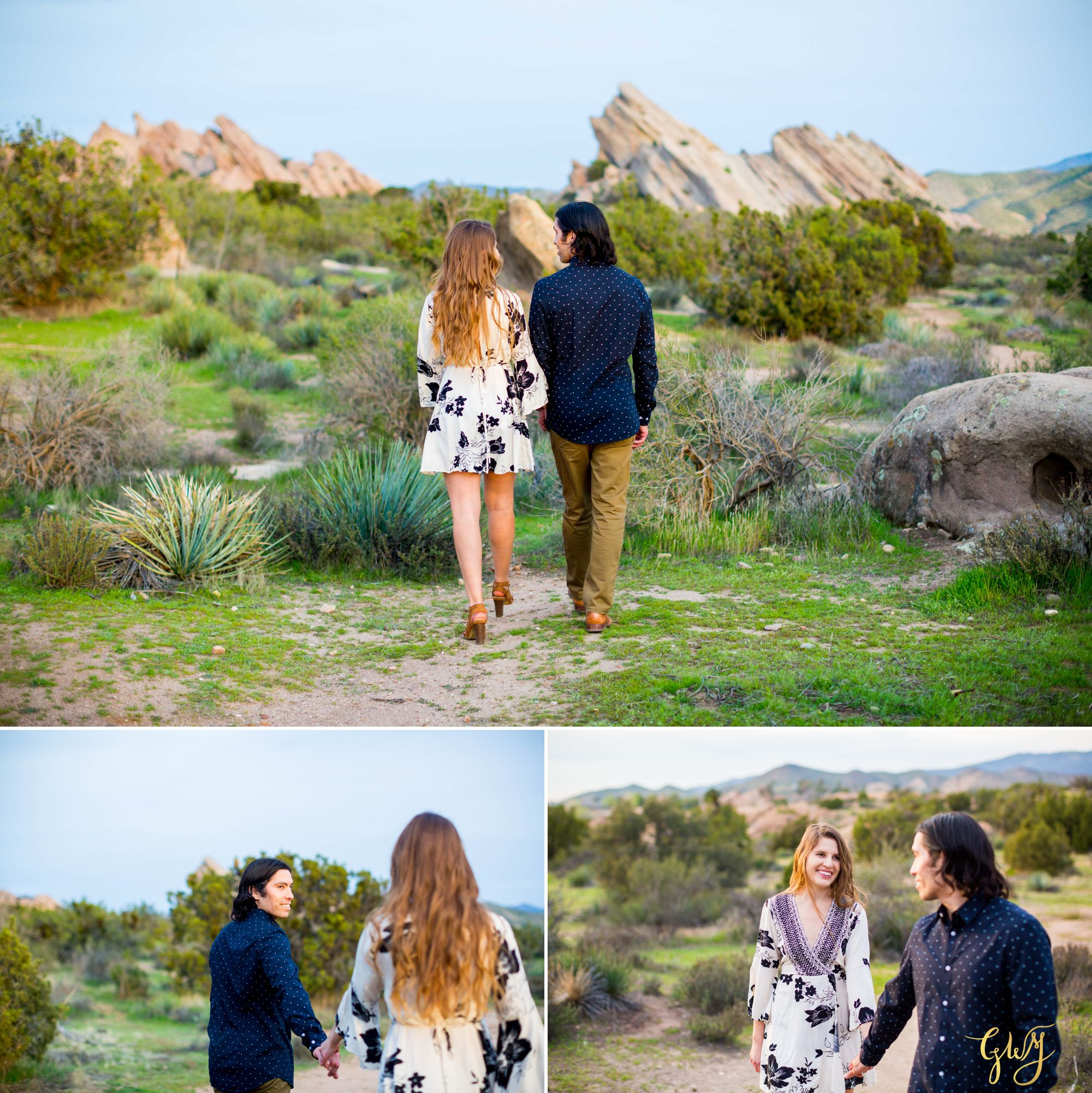 Jose + Sarah Vasquez Rocks Hike at Sunset Adventurous Engagement by Glass Woods Media 14.jpg