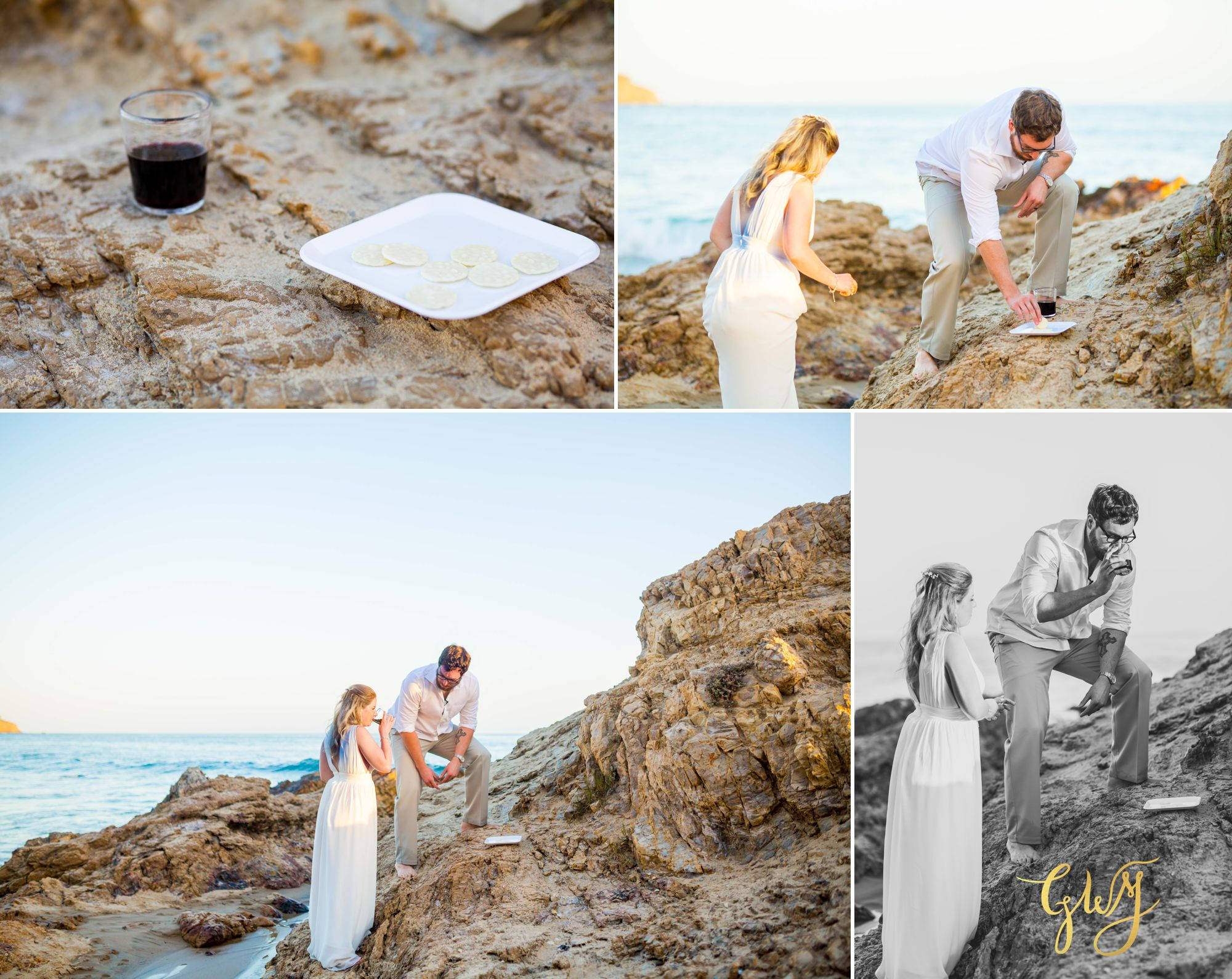 Amanda + Joe Reef Point Crystal Cove Newport Beach Sunset Romantic Intimate Elopement by Glass Woods Media 12.jpg