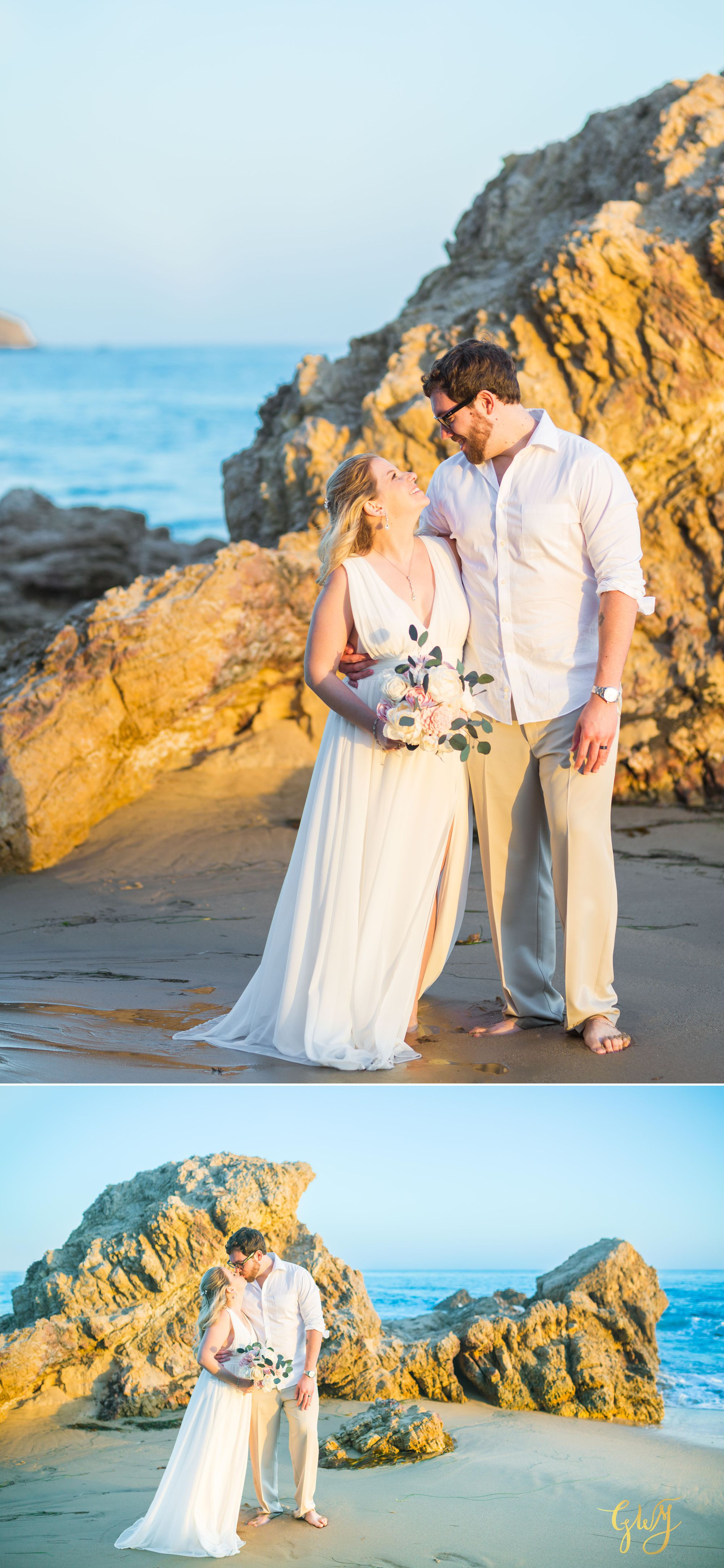 Amanda + Joe Reef Point Crystal Cove Newport Beach Sunset Romantic Intimate Elopement by Glass Woods Media 14.jpg