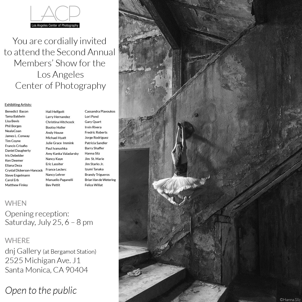 LACP 2nd Annual Member Show.   Juried by Patricia Lanza, Director, Talent & Content at the  Annenberg Space for Photography.