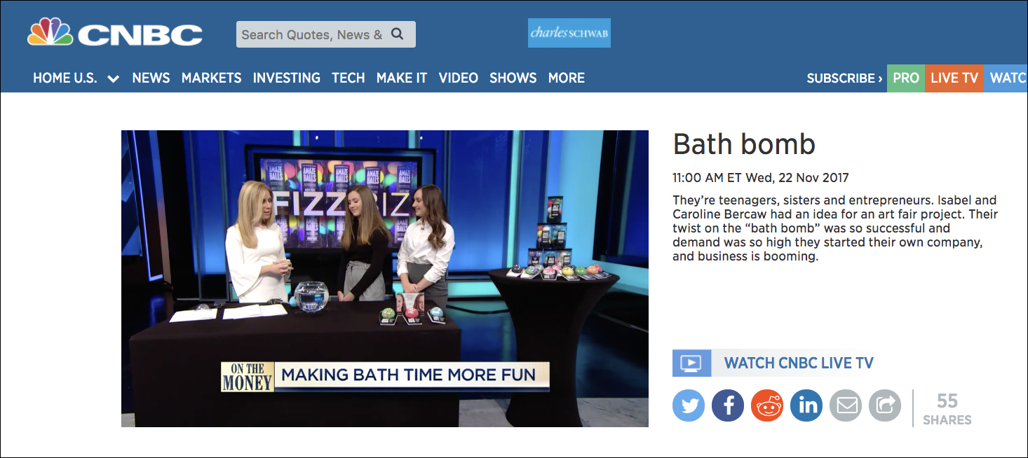 Da Bomb Bath Fizzers sisters and teenage entrepreneurs Isabel and Caroline Bercaw in CNBC segment On The Money. Links to video segment.
