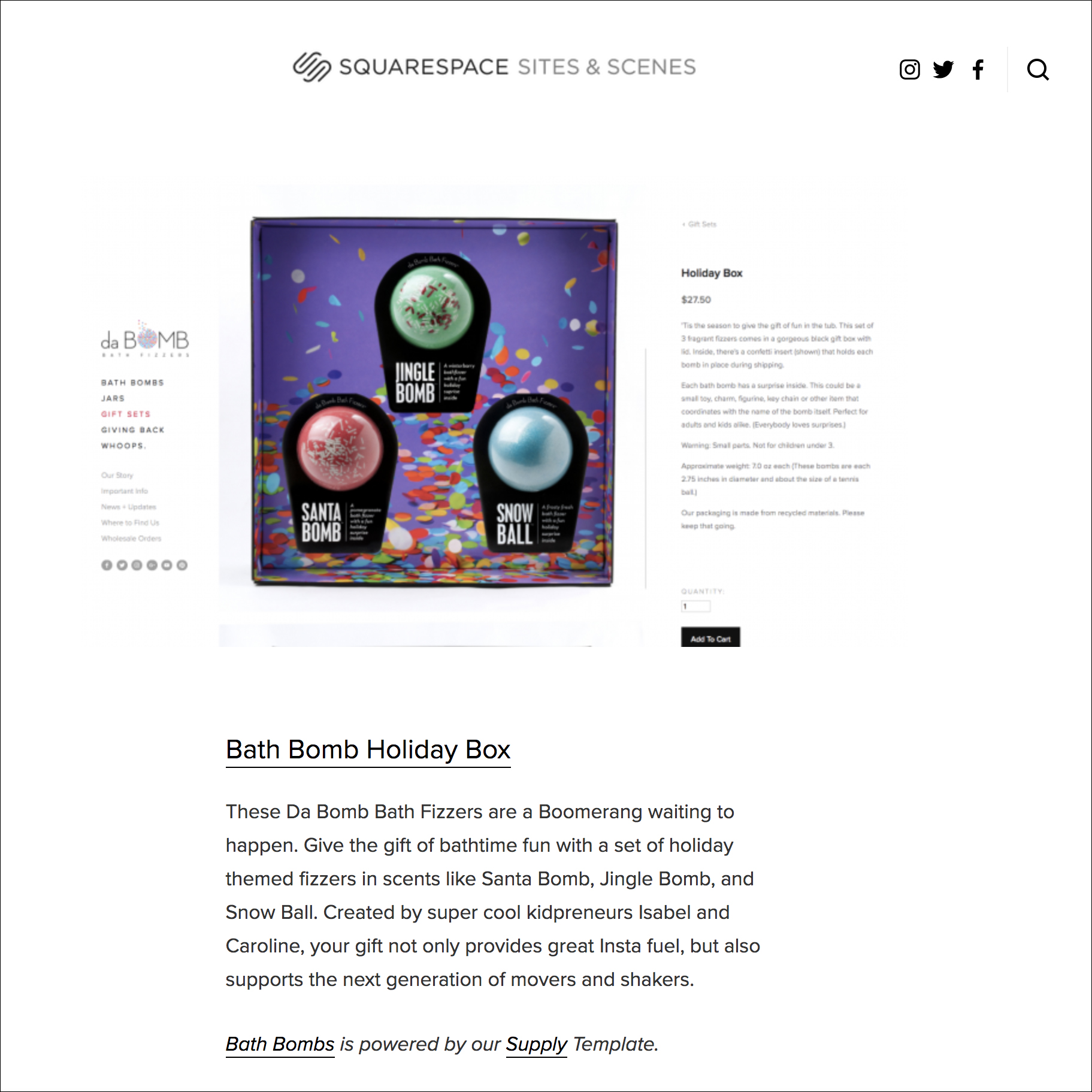 Da Bomb Bath Fizzers holiday box in squarespace article as gift for insta star. Links to article.