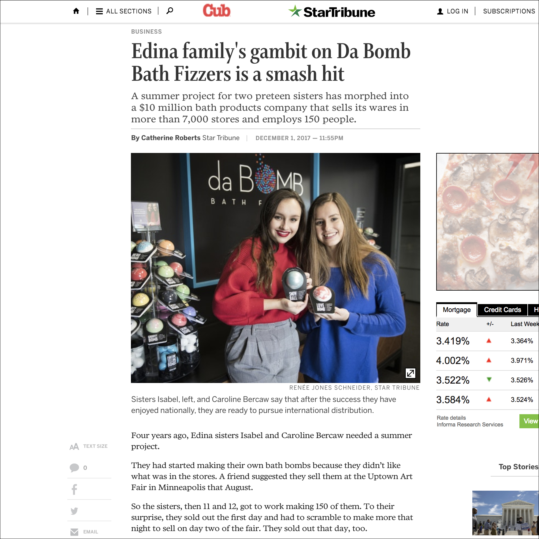 Twin Cities Star Tribune newspaper article of Da Bomb Bath Fizzers sisters Isabel and Caroline Bercaw and family business. Links to article.