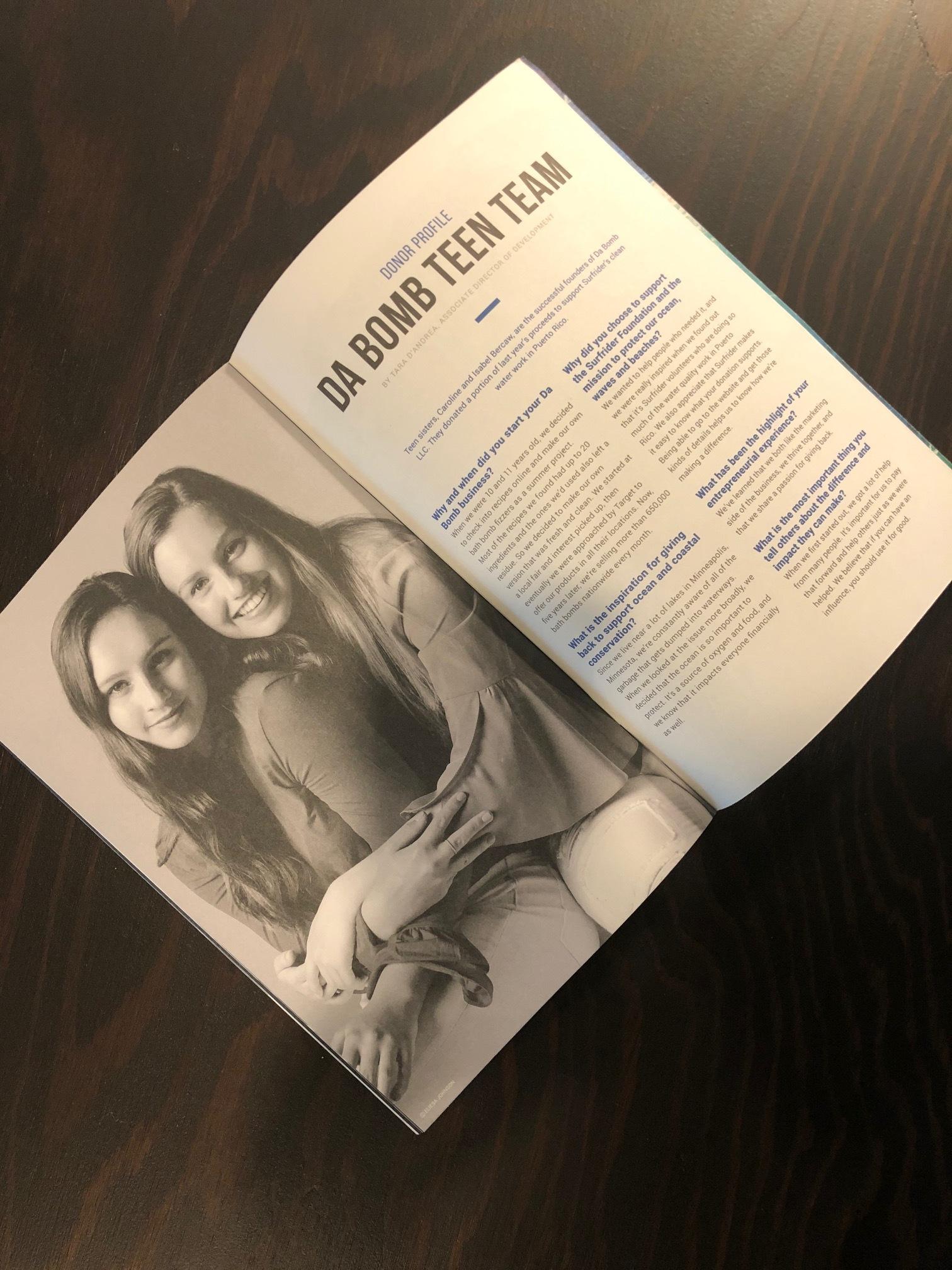 Article of Da Bomb Bath Fizzers donating to non profit Surfrider Foundation.