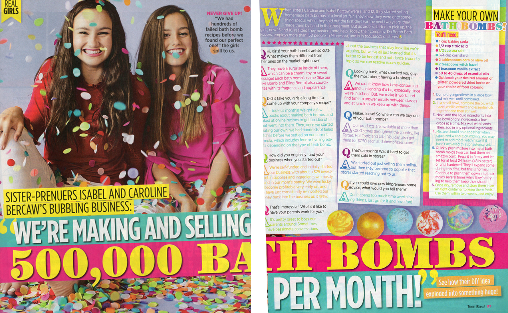Da Bomb Bath Fizzers sisters Isabel and Caroline Bercaw in Teen Boss business magazine with bath bomb recipe.