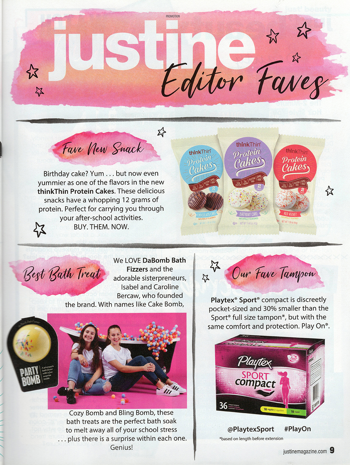 Da Bomb Bath Fizzers sisters and yellow party bomb in Justine magazine Editor Faves feature as best bath treat.