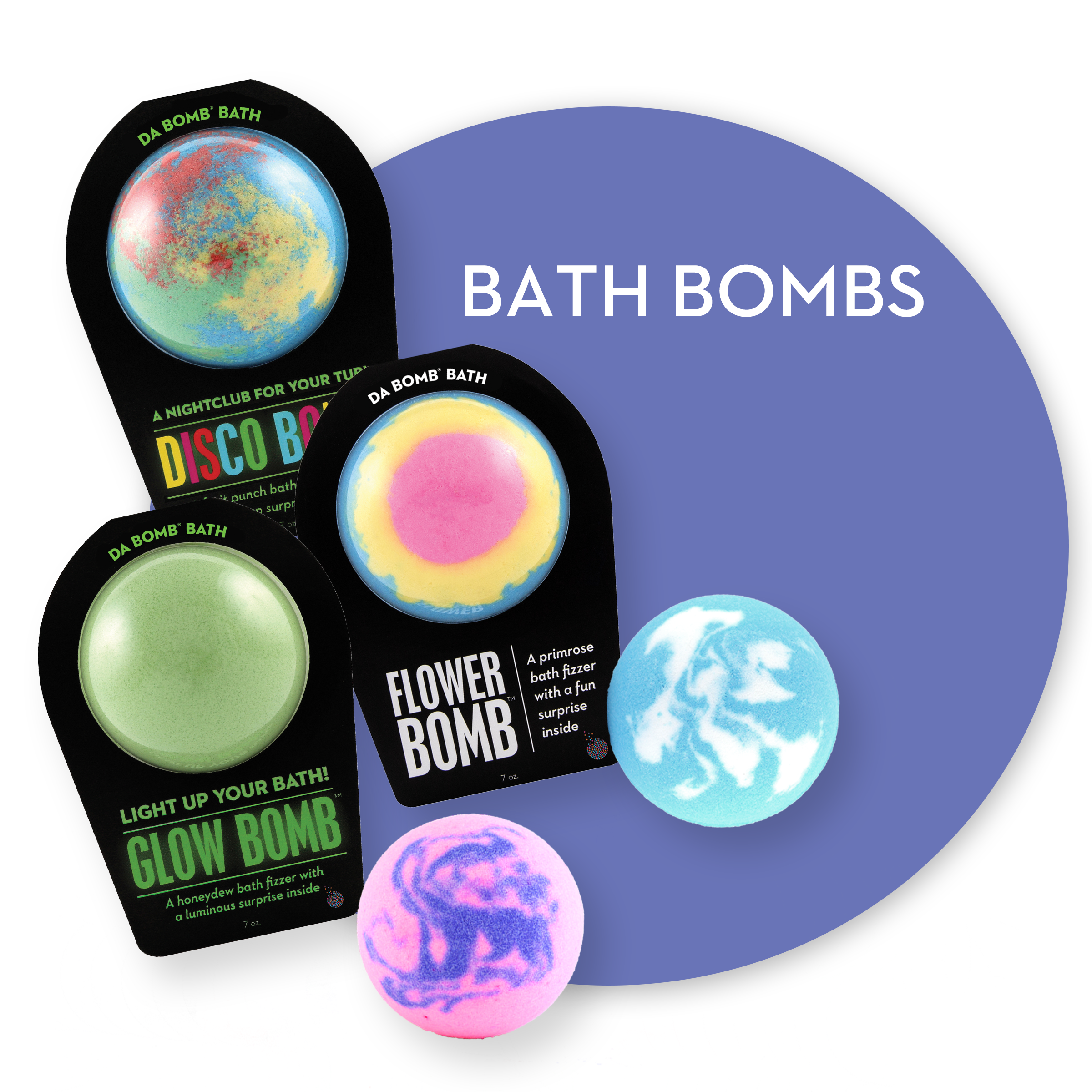Packaged and unpackaged bath bombs. Links to Bath Bombs page.