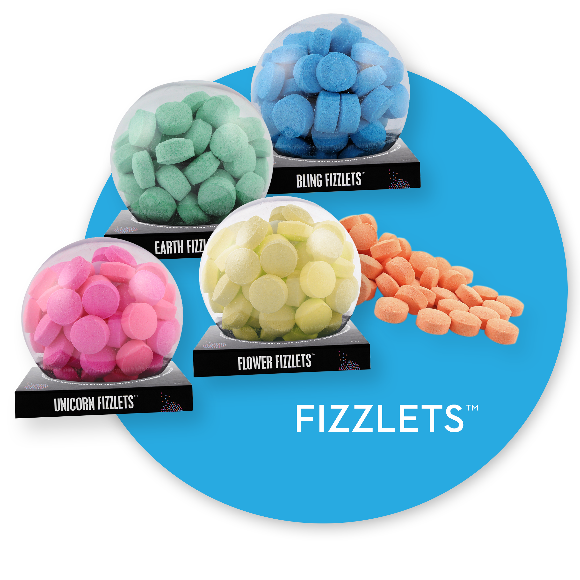 Packaged and unpackaged Fizzlets. Links to Fizzlets page.