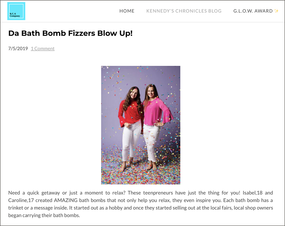 Picture of Isabel and Caroline on the K.C. & Company Blog.