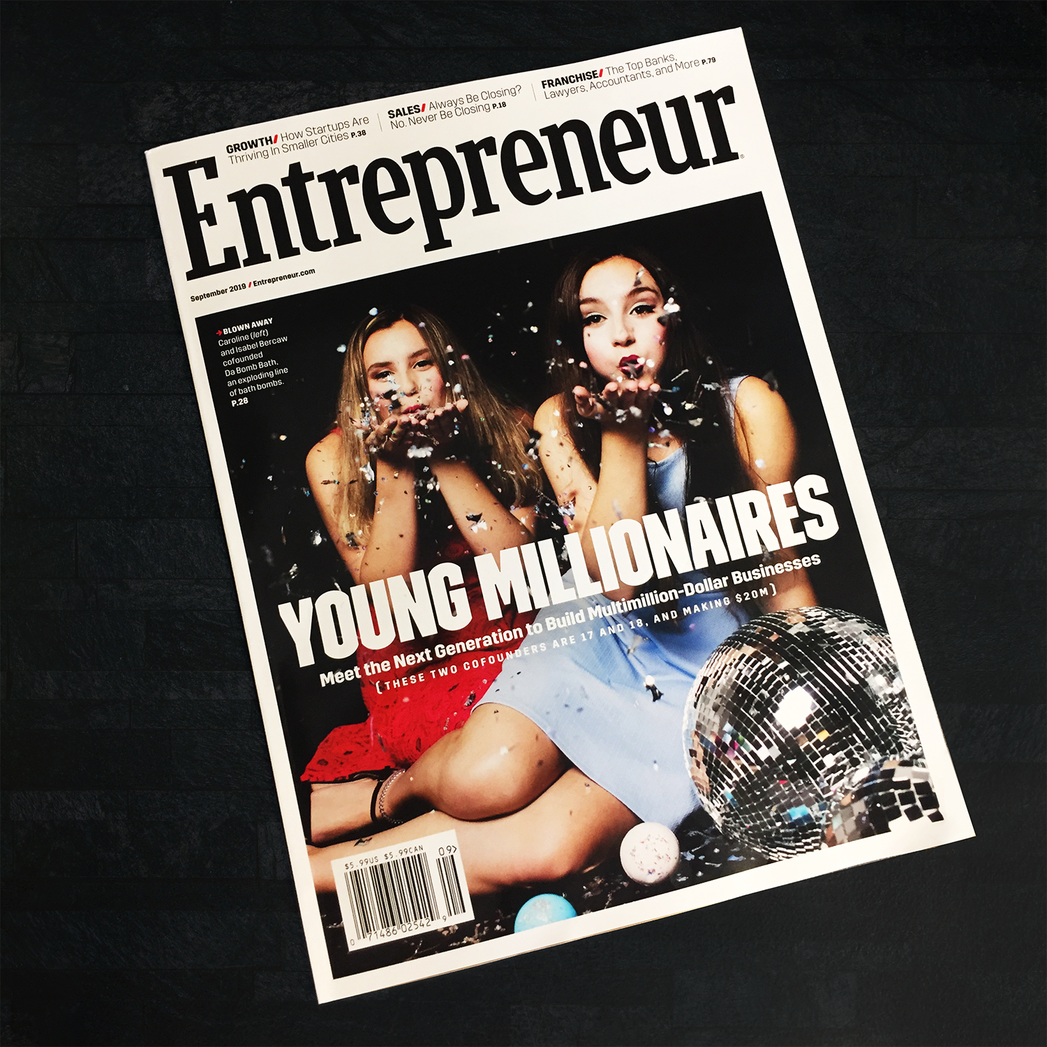Picture of Isabel & Caroline on the front cover of the September edition of Entrepreneur Magazine.