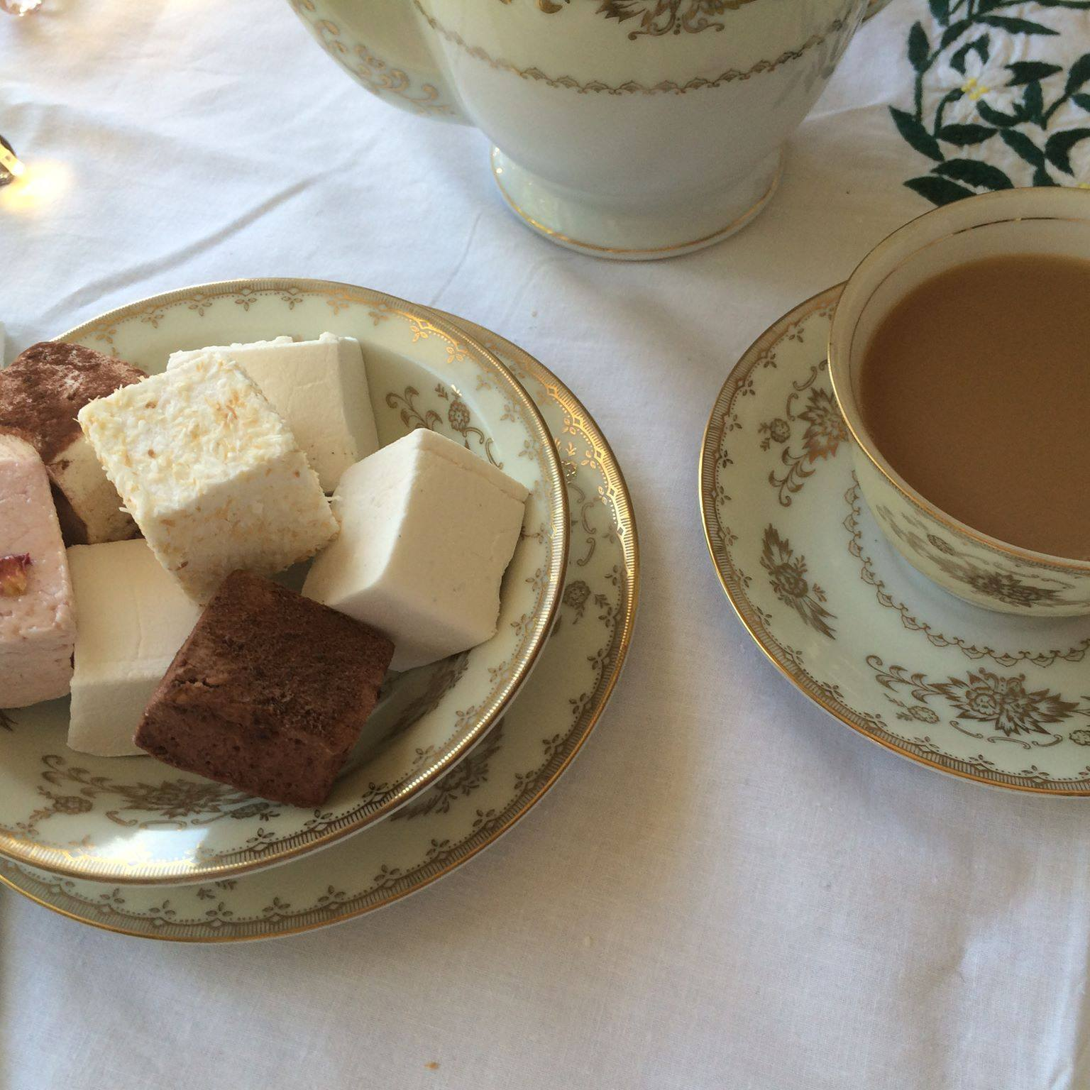tea and French marshmallows
