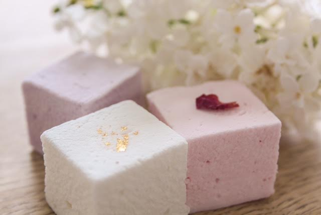 Elderflower & Champagne with pure gold leaf; Rose Petal and Violette Marshmallows