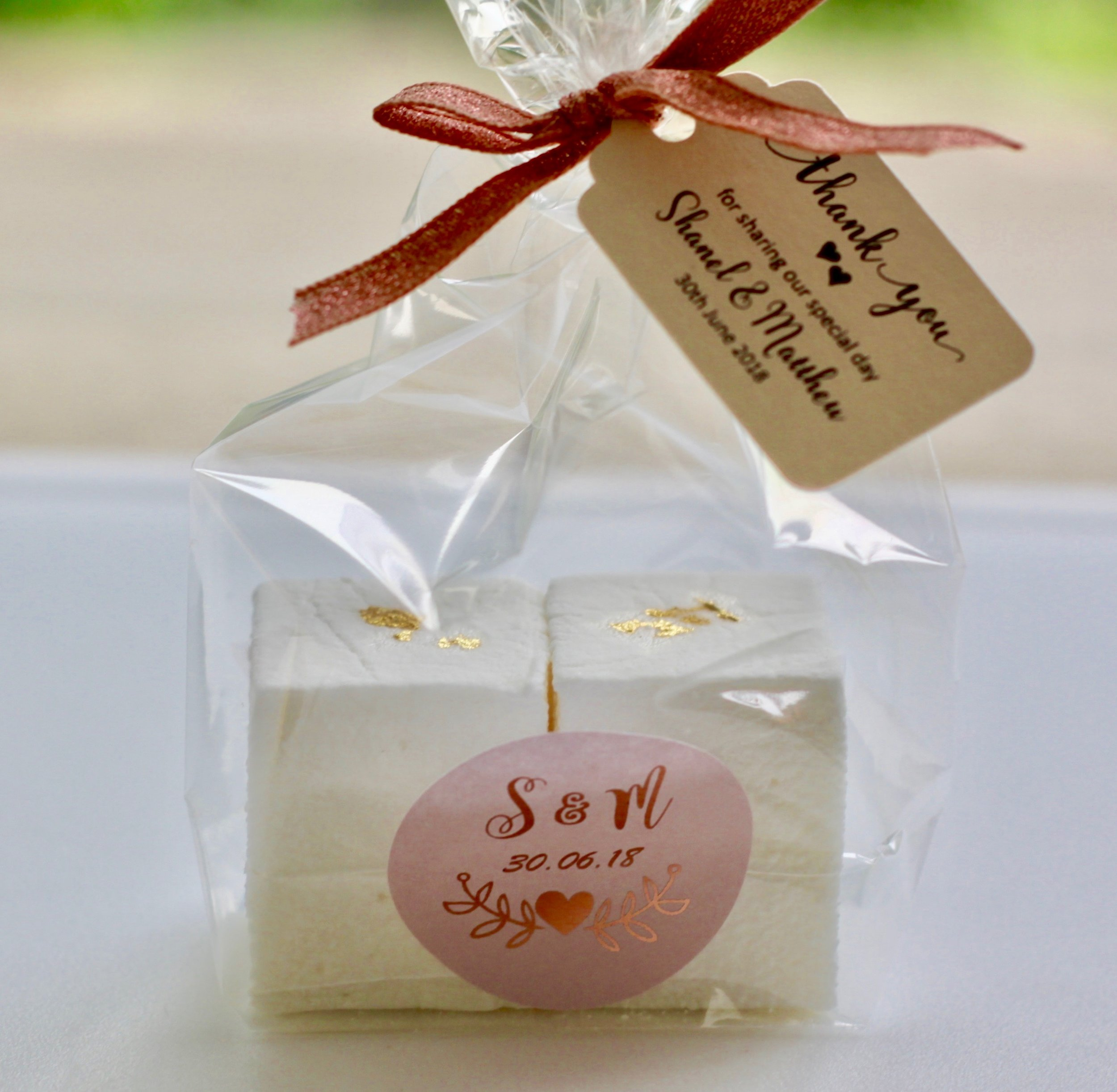 Wedding favours personalised with an individual message and hand tied with a ribbon to suit your wedding vibe
