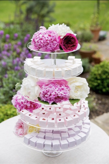5-tier Marshmallow Tower containing 200 marshmallows - we can design marshmallows to suit your wedding colours and vibe