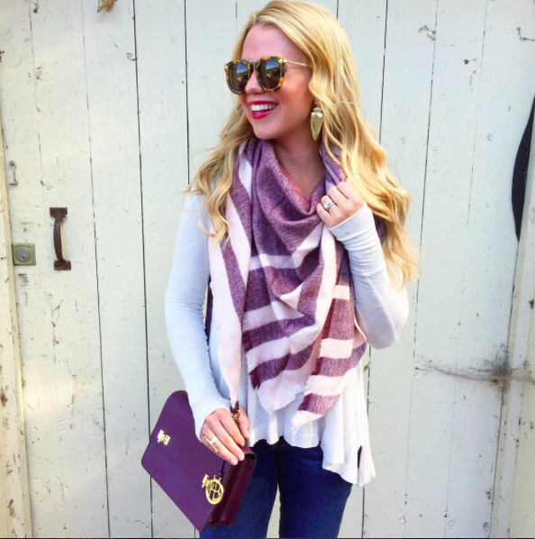 Thermal-Tunic-Top-Burgundy-Striped-Triangle-Scarf