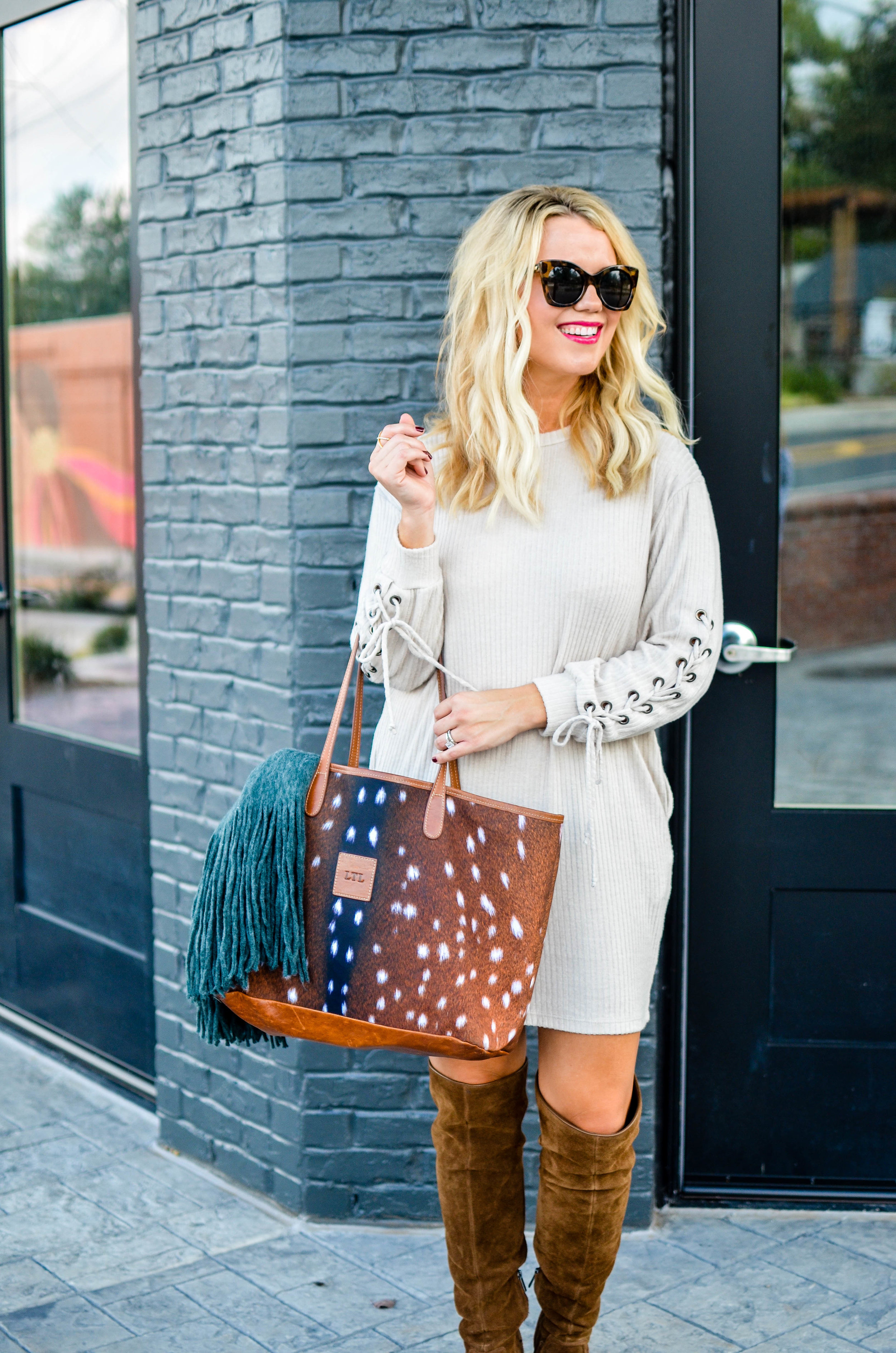 This Barrington St. Anne tote  is my hands-down favorite and I get compliments wherever I carry it! Click here to shop  my cozy $55 dress .