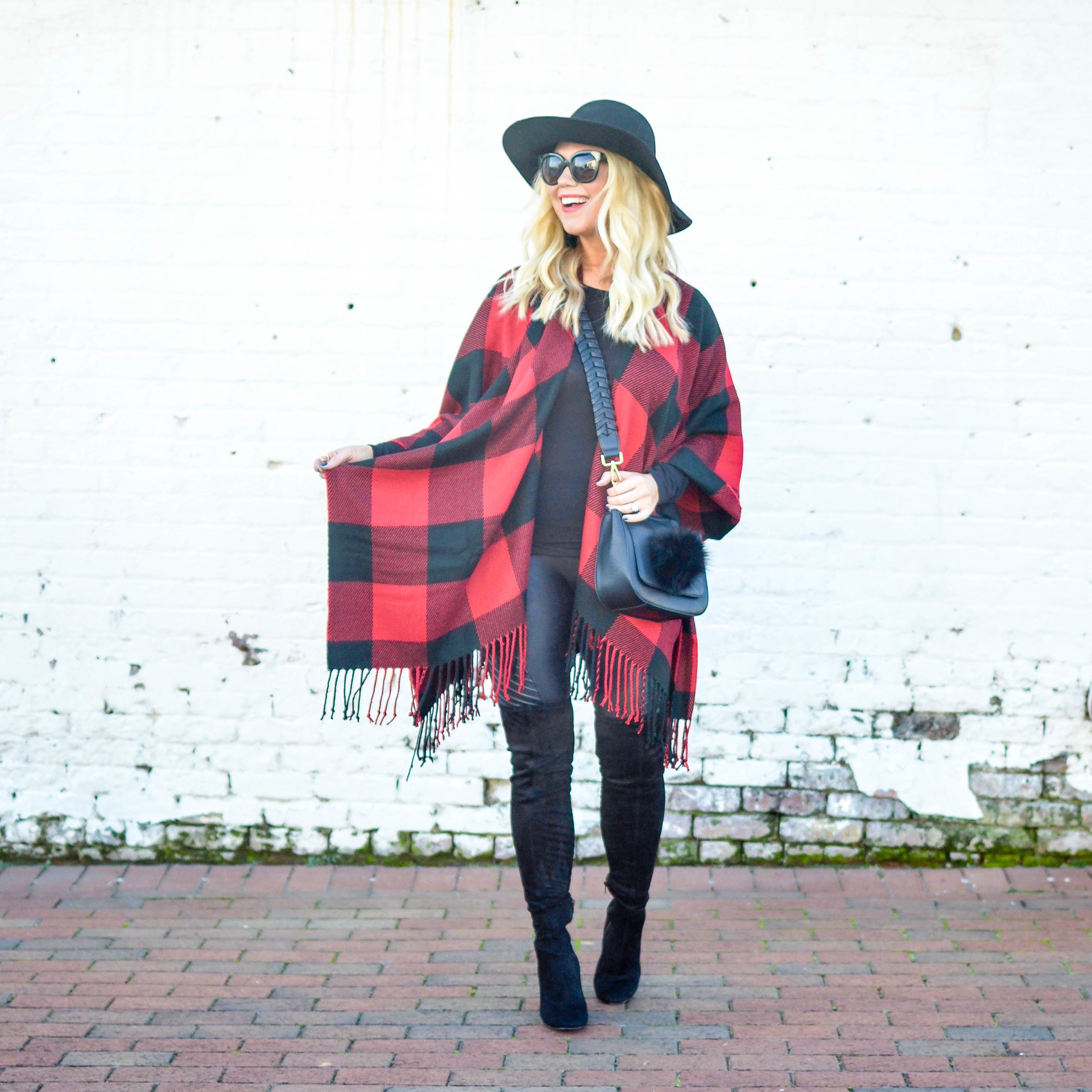 My favorite Spanx moto leggings  are 20% off! This poncho is also under-$50 and comes in three colors.
