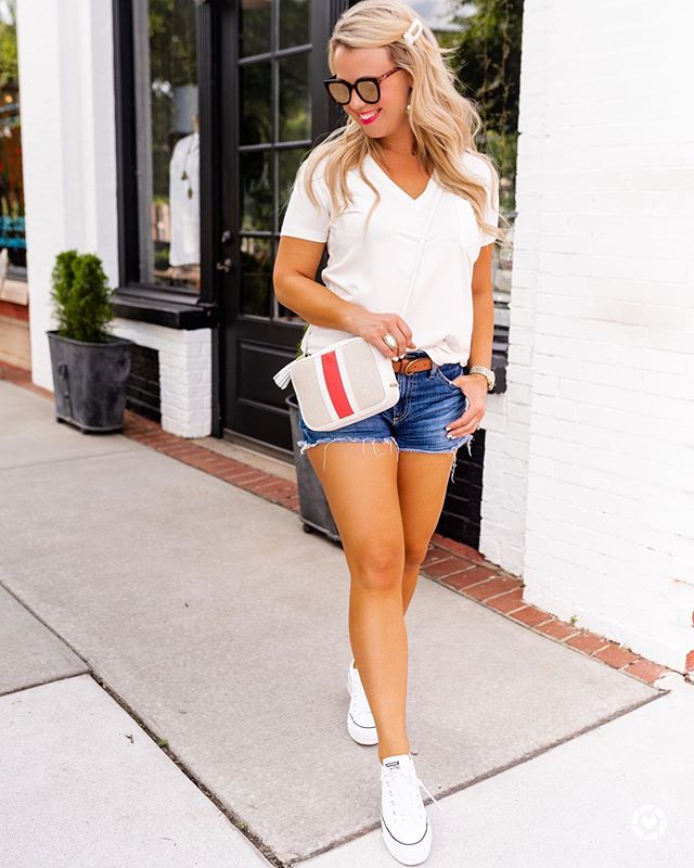Happy Friday, friends! 😎 Two of my fav, wear-all-the-time basics just went SALE! 🙌🏻 The best white tee of the season is now on SALE and in stock in all sizes & six colors, and these must-have designer denim shorts have also been marked down. 🤗 I sized up to a medium in the tee for a slightly slouchier fit and it's 👌🏻. (It's not see thru when you wear a nude bra.) Get the details by following me on the @liketoknow.it app or via the direct link in my profile. ❤️ http://liketk.it/2CWs1 #LTKunder50 #LTKsalealert || 📸. @kvcphotography
